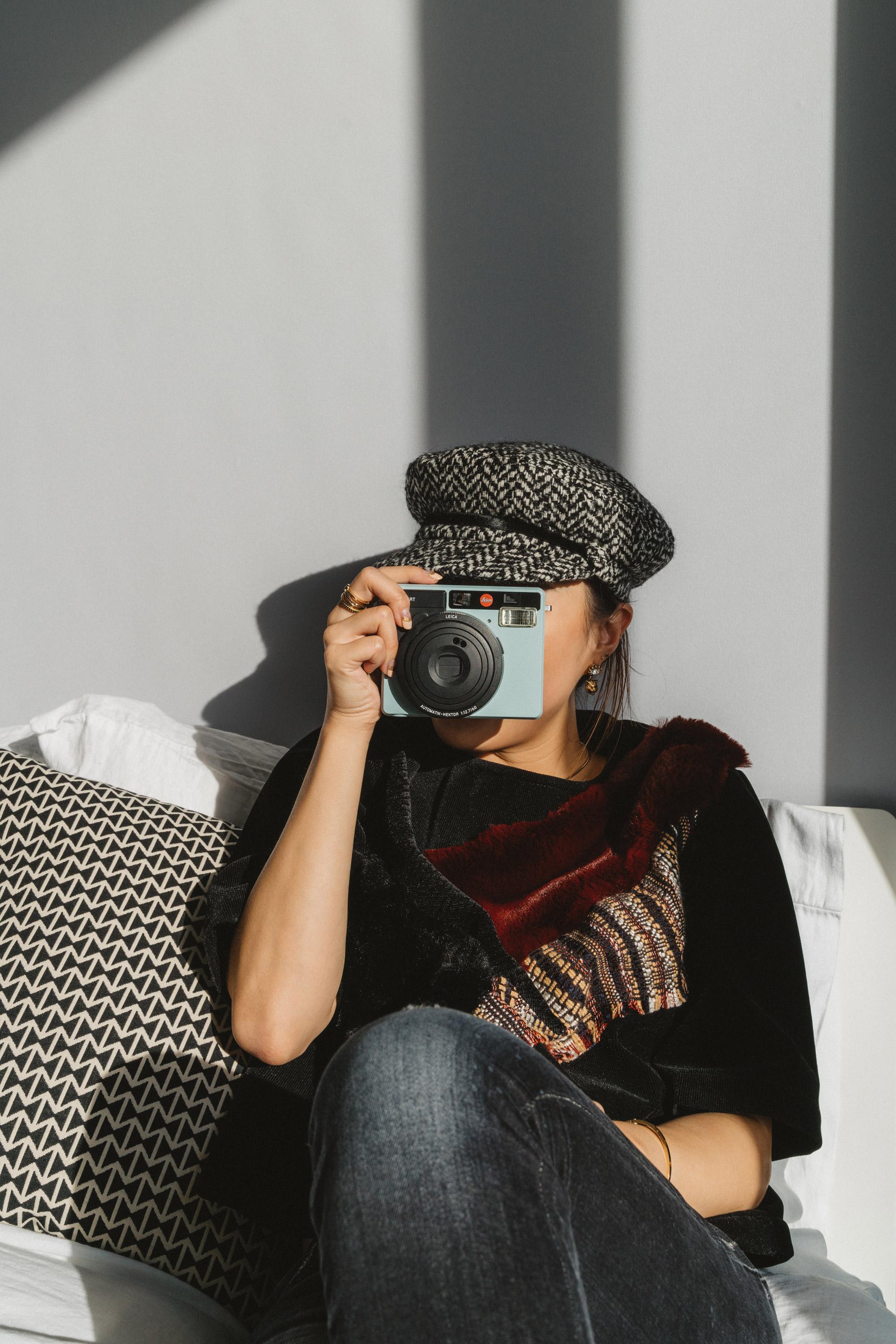Lie Collection Top ,  R13 Denim ,  Eugenia Kim Hat ,  Leica Camera