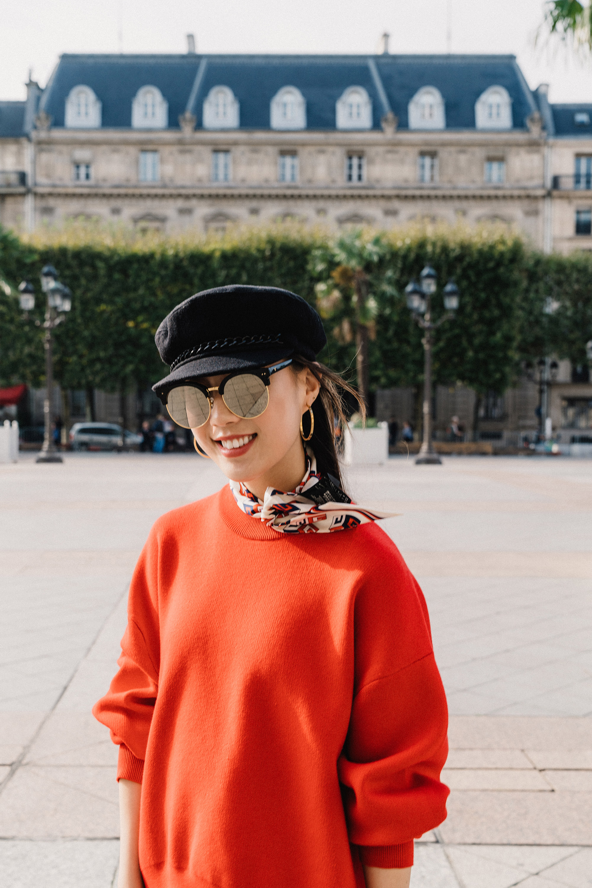 DKNY Pullover ,  Gucci Scarf , Eugenia Kim Hat,  Gentle Monster Sunnies ,  Vita Fede Earrings