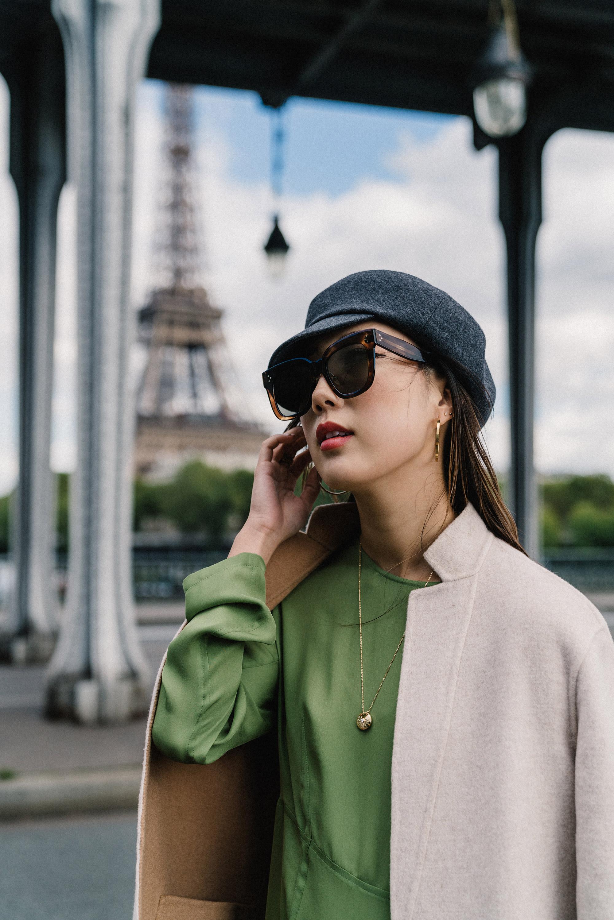 Theory Jacket, Yune Ho Dress, Hermes Hat, Céline Sunglasses,  Cartier Necklace ,  Vita Fede Earrings