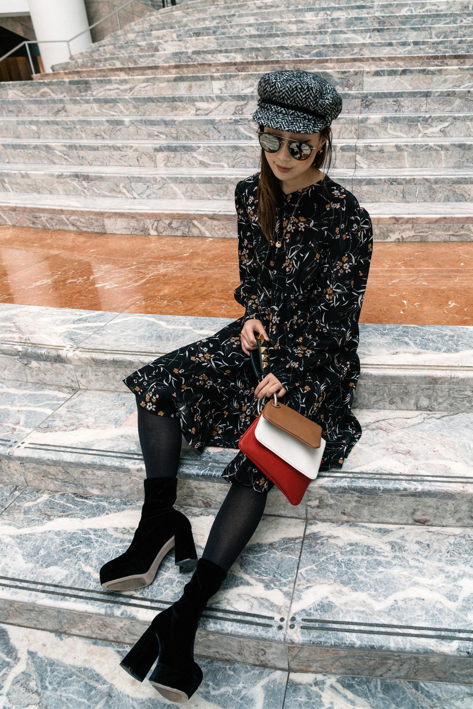 Isabel Marant Dress,  Fendi Pouch , Miu Miu Boots,  Eugenia Kim Hat ,  Oliver Peoples Sunglasses