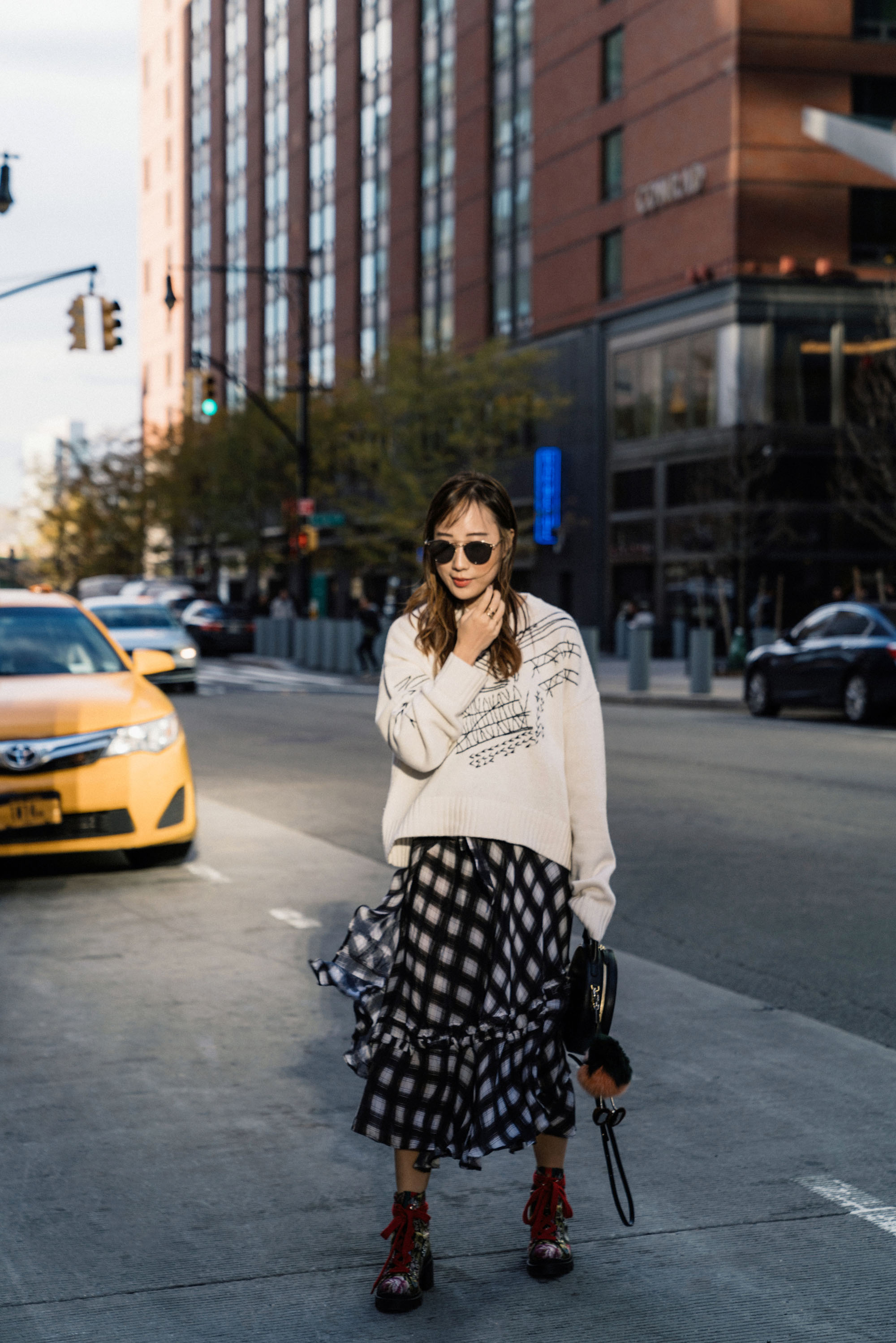INEXCLSV Sweater , Preen Line Skirt,  Gucci Boots ,  Mansur Gavriel Bag ,  Oliver Peoples Sunglasses