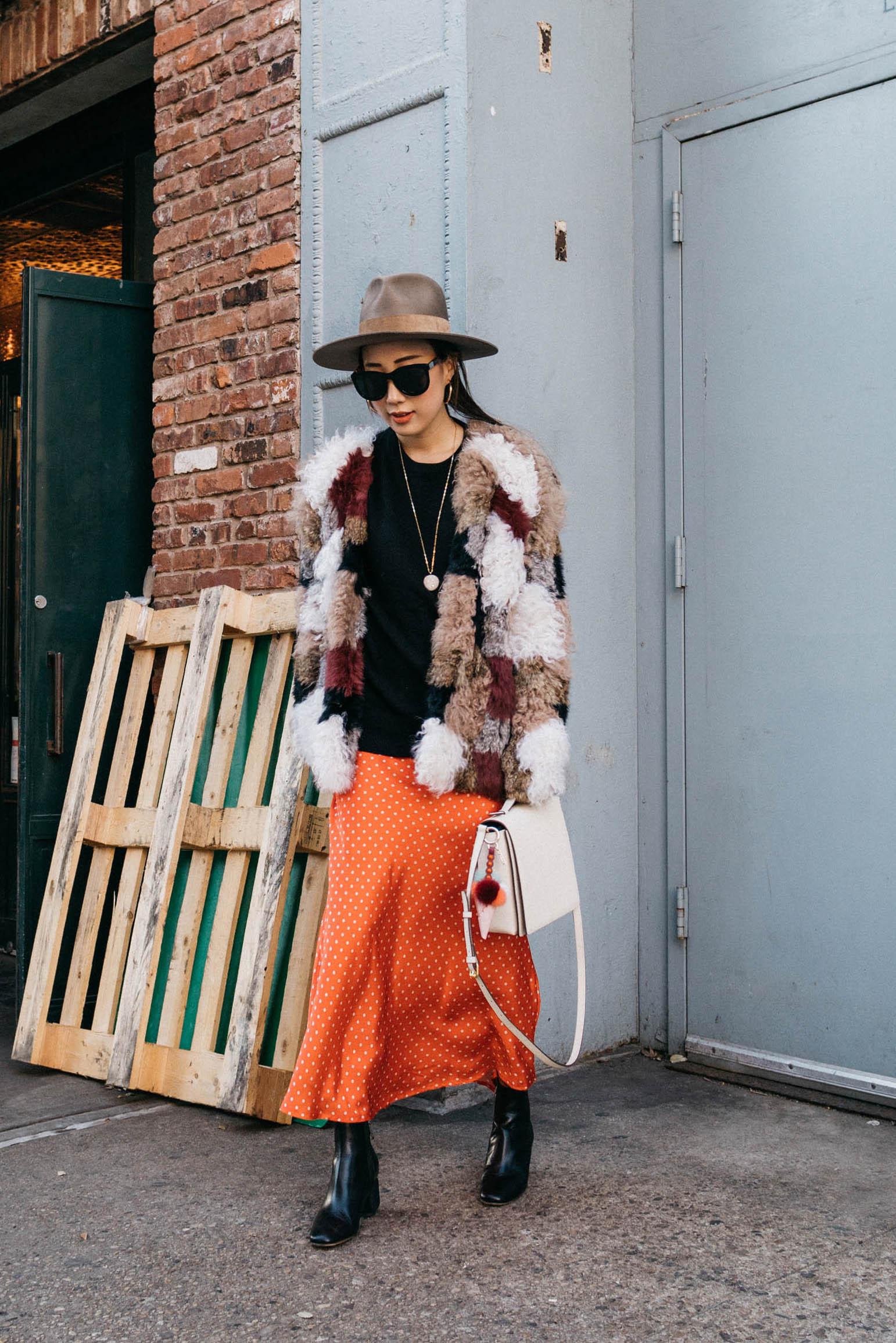 Ulla Johnson Coat,  Everlane Top ,  Sincerely Jules Dress ,  Milma Studio Bag ,  Fendi Charm , The Row Boots, Janessa Leone Hat