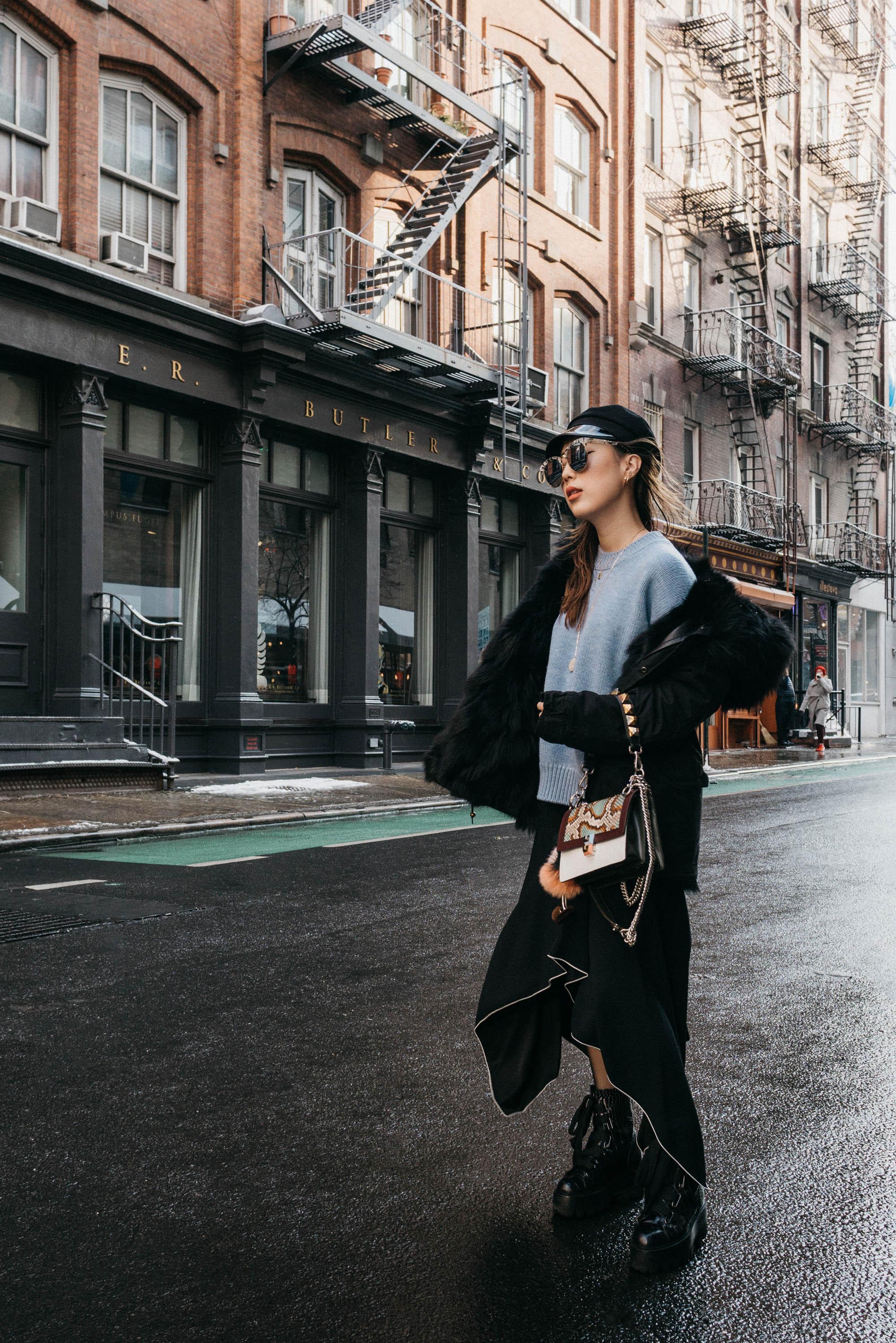 Mr & Mrs Italy Coat ,  Mansur Gavriel Sweater , Proenza Schouler Skirt, Ellery Boots, Fendi Bag, Gentle Monster Sunglasses, Gucci Hat