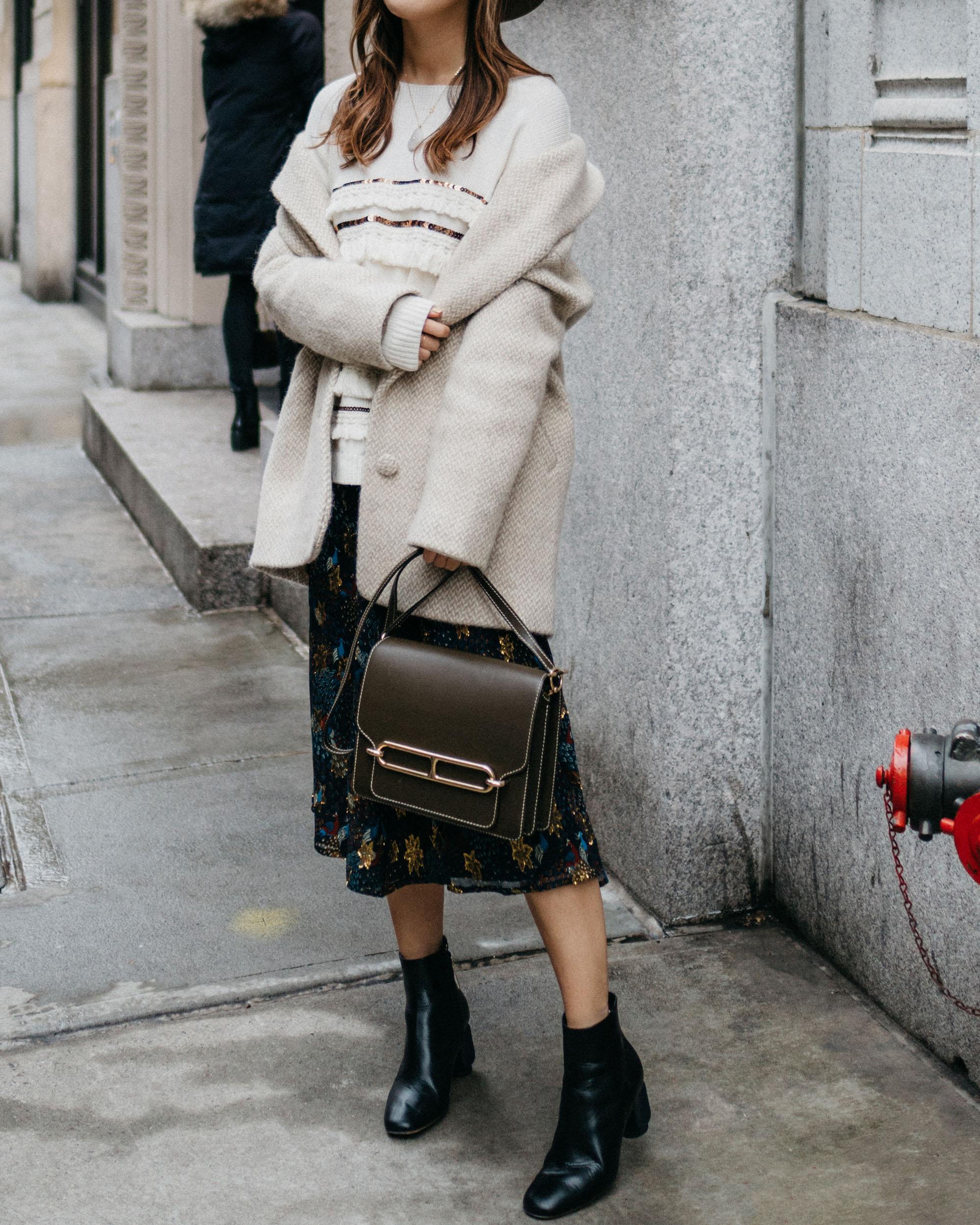 Sézane Coat ,  Sézane Sweate r,  Sézane Skirt , Hermes Bag, The Row Boots
