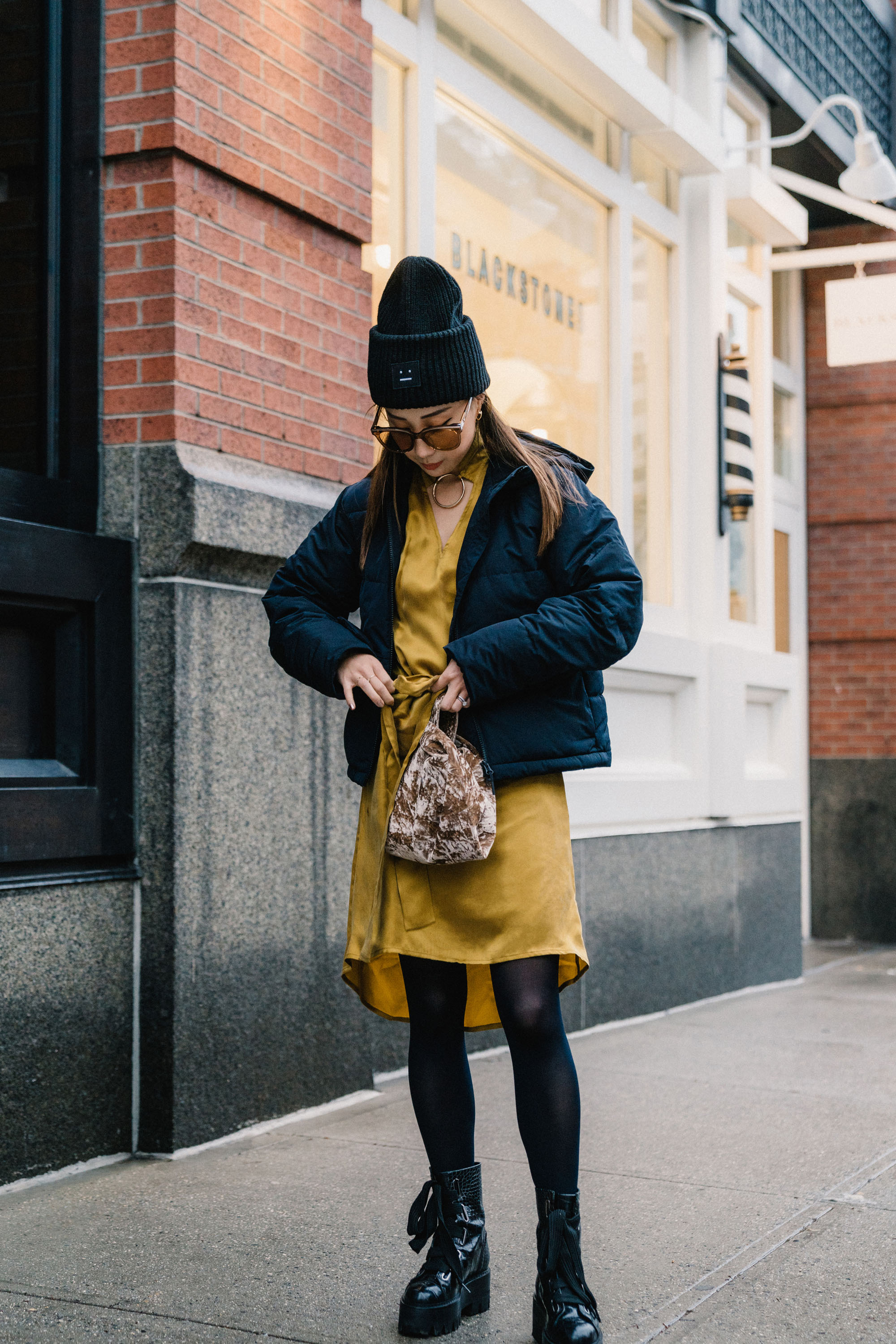 Everlane Jacket ,  The Frilly Dress , Ellery Boots,  Hayward Bag , Gentle Monster Sunglasses, Acne Studios Beanie