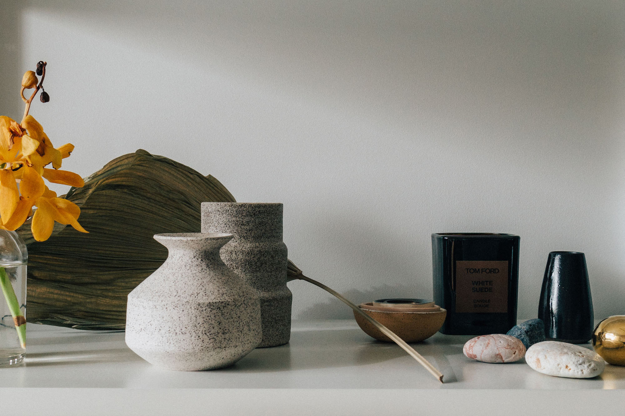 Natalie Weinberger Vases ,  Tom Ford Candle ,  Milk and Clay Vase