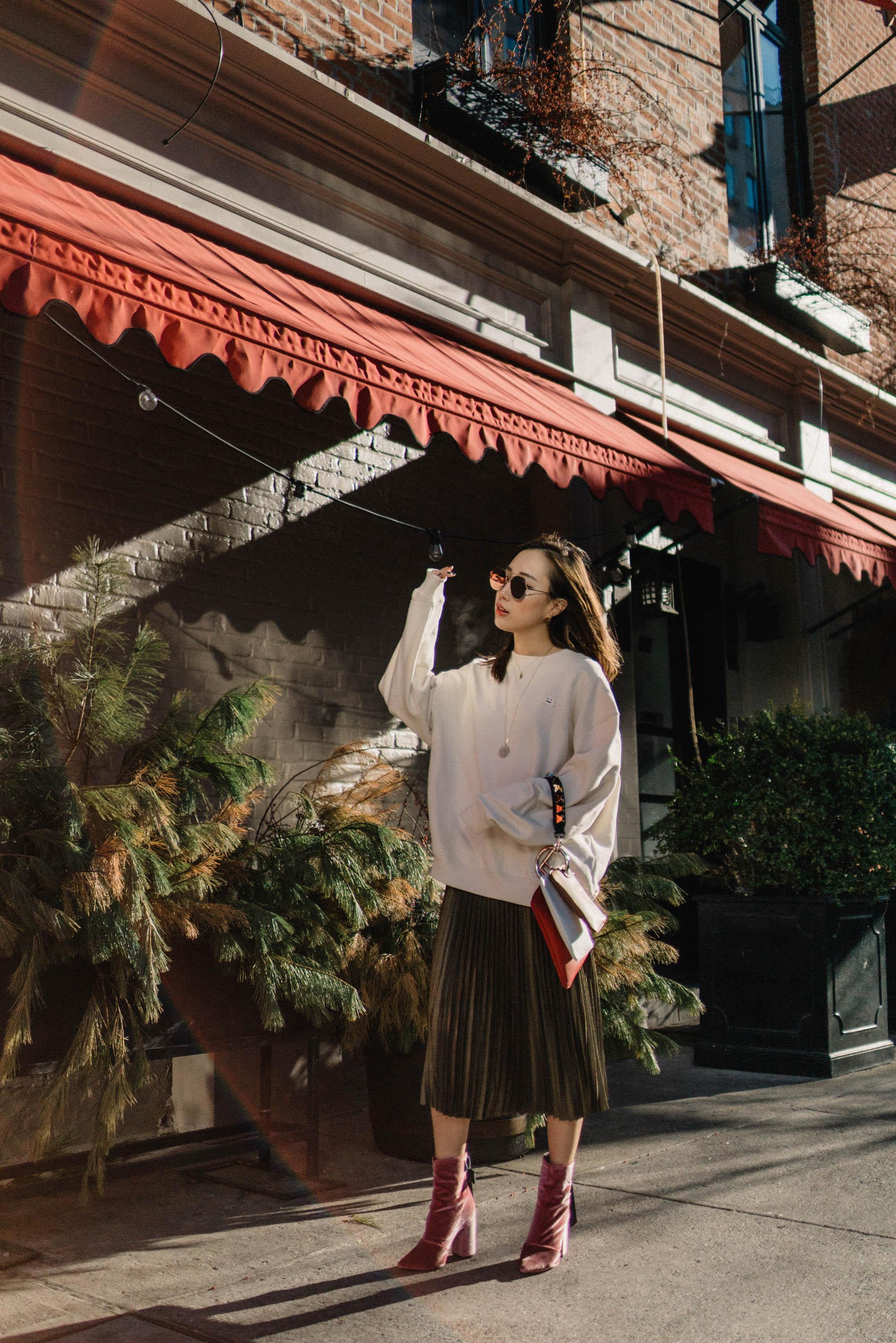 Acne Studios Sweatshirt, Sezane Skirt,  Clergerie Boots ,  Fendi Bag , Fendi Sunglasses