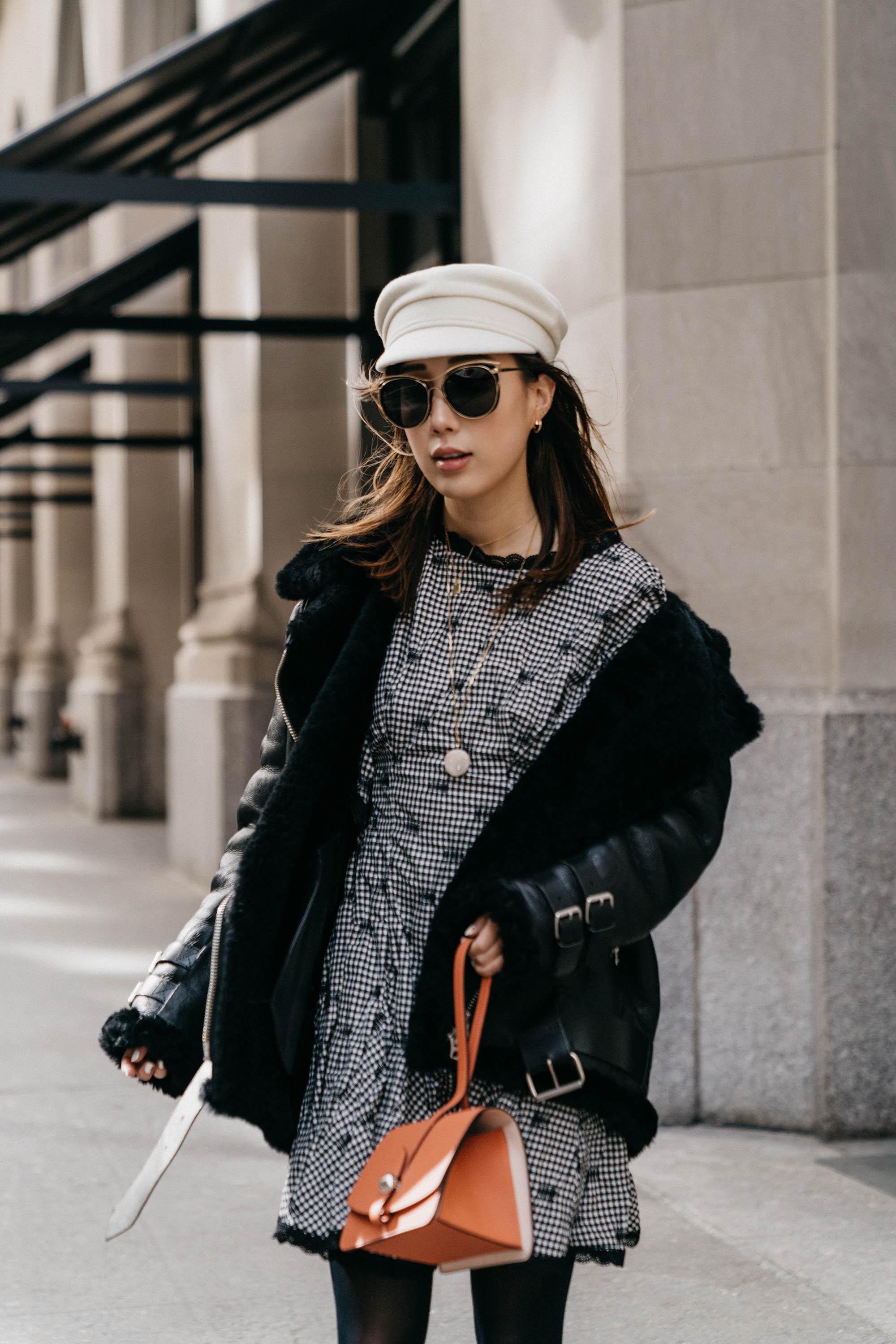 Acne Studios Coat, Jonathan Simkhai Dress,  Moynat Bag ,  Blanc and Eclare Sunglasses
