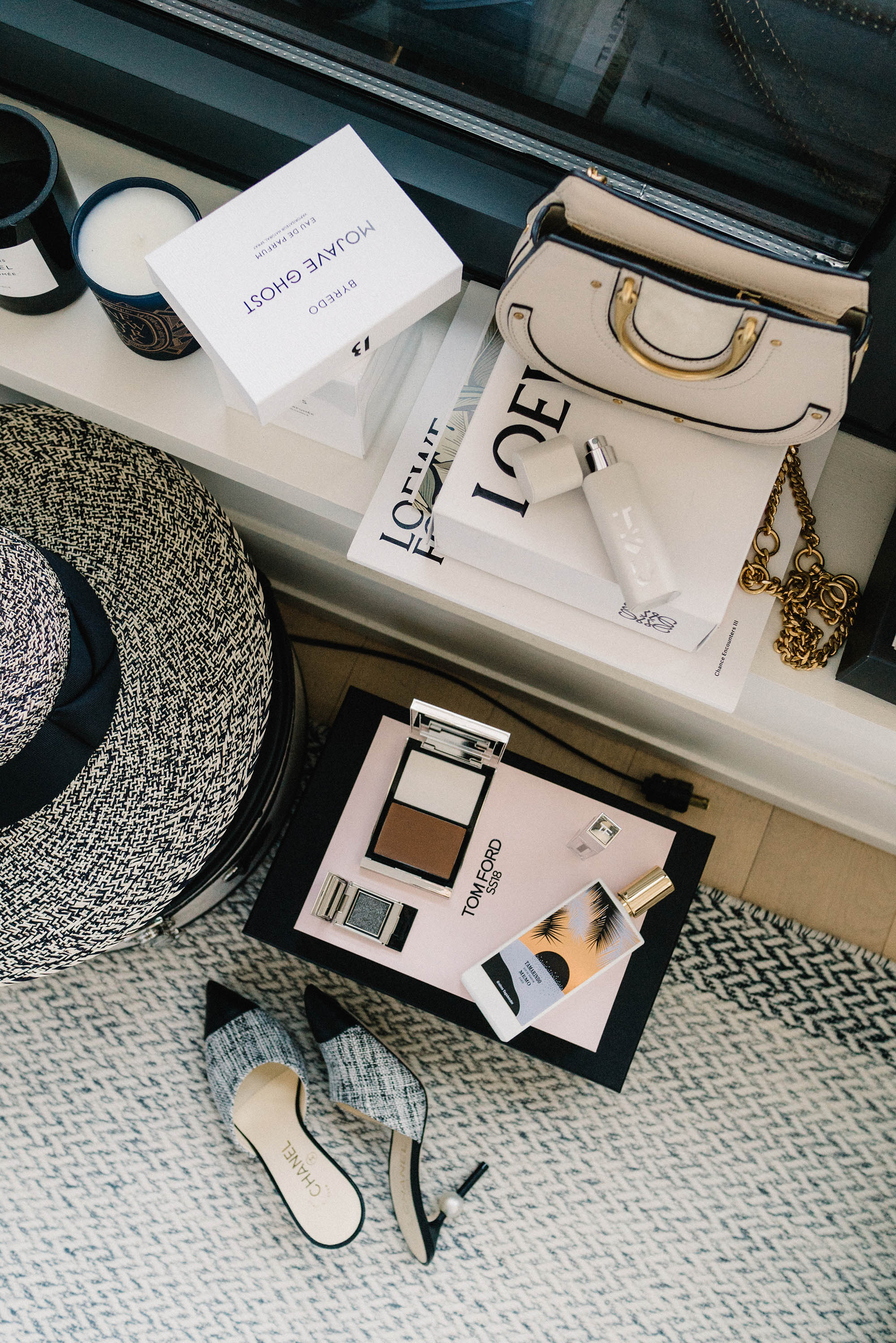 Chloe Bag ,  Byredo Fragrance Travel Case ,  Tom Ford Beauty ,  MEMO Paris Fragrance , Chanel Mules