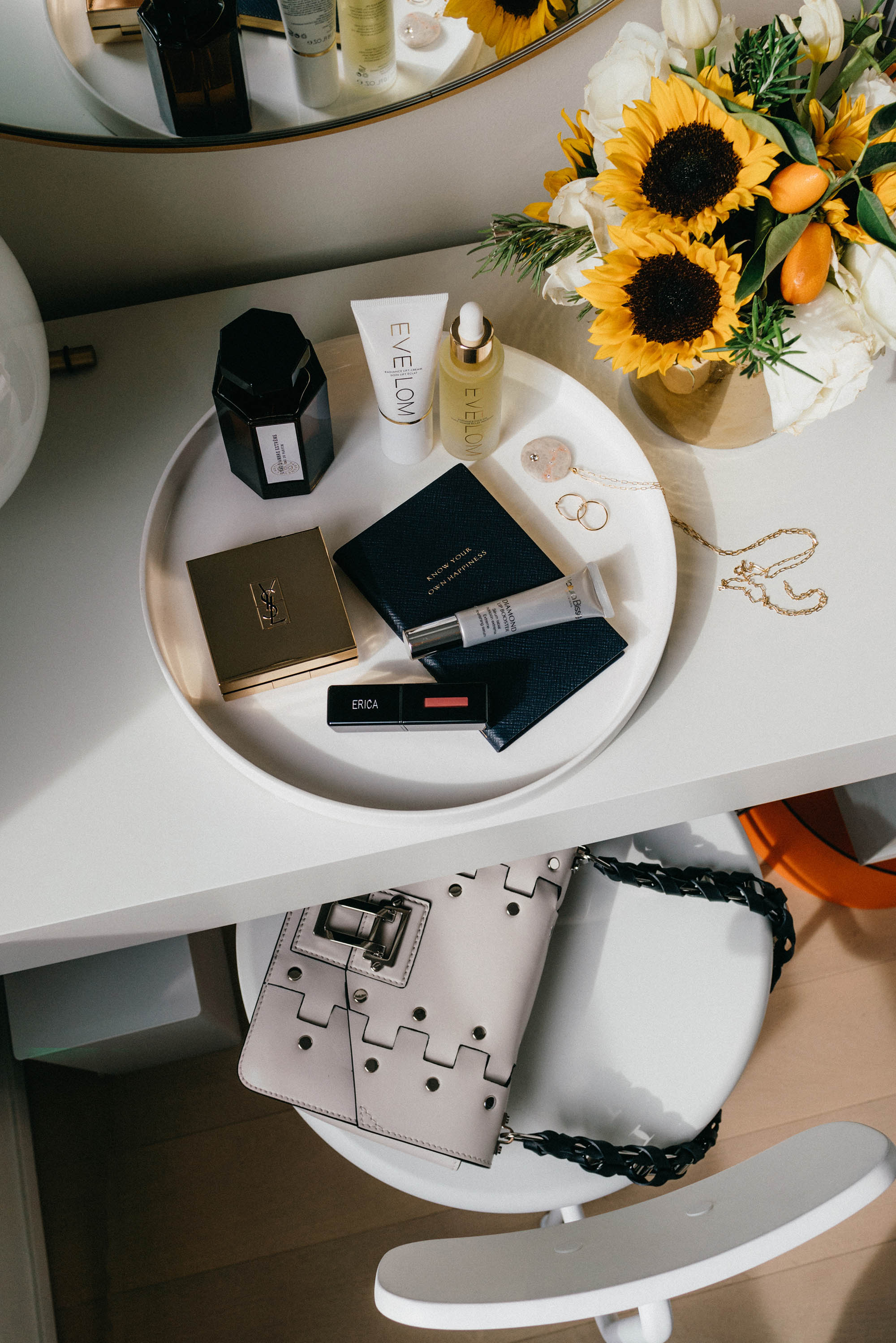 L'Artisan Parfumeur Fragrance ,  Eve Lom Beauty ,  YSL Beauty Cushion Compact ,  YSL Beauty Lip Stain ,  Natura Bisse Lip Booster ,  Smythson Notebook