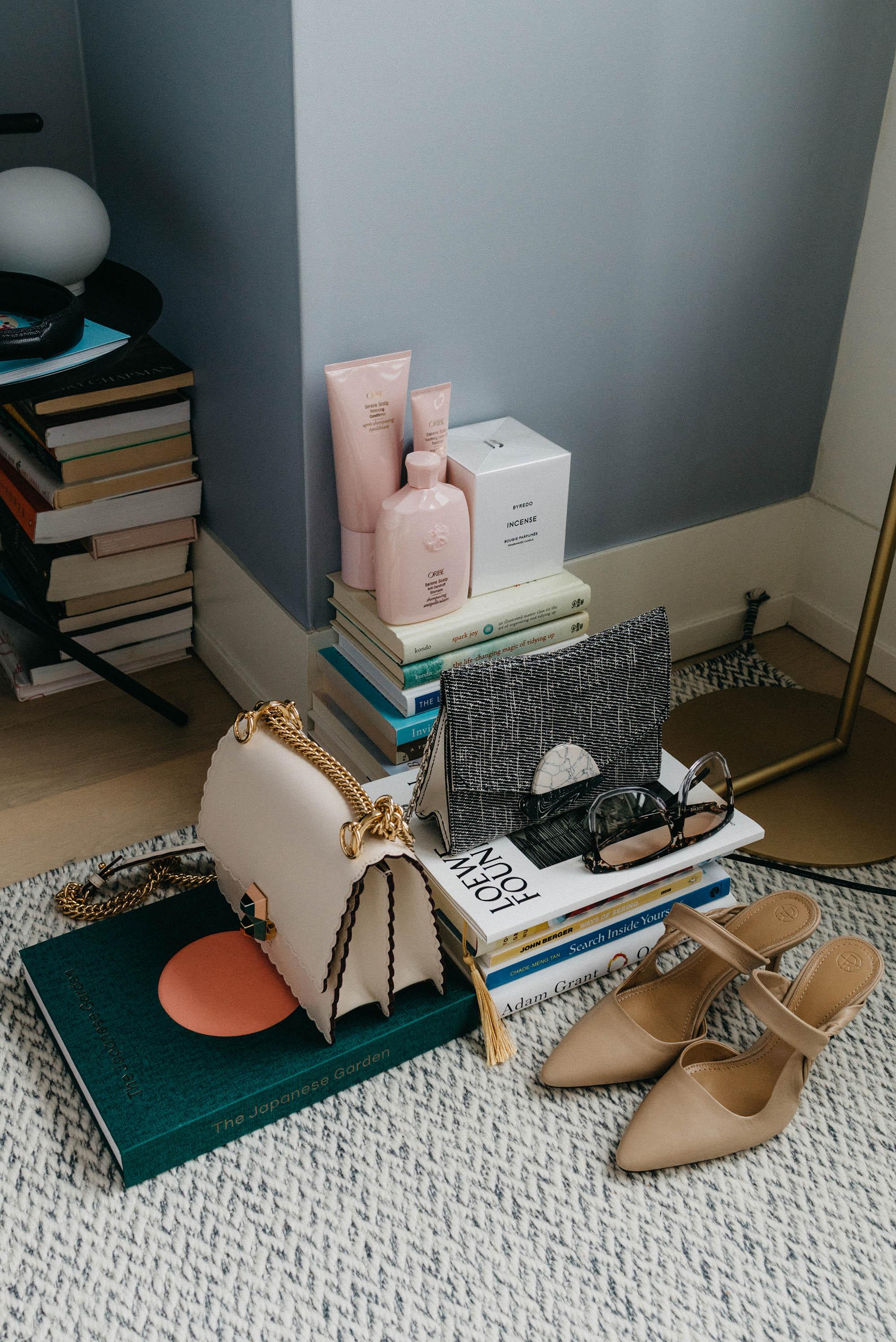Oribe Haircare ,  Byredo Candle ,  Proenza Schouler Bag , Loewe Sunglasses,  Fendi Bag ,  The Row Shoes ,  The Japanese Garden Book