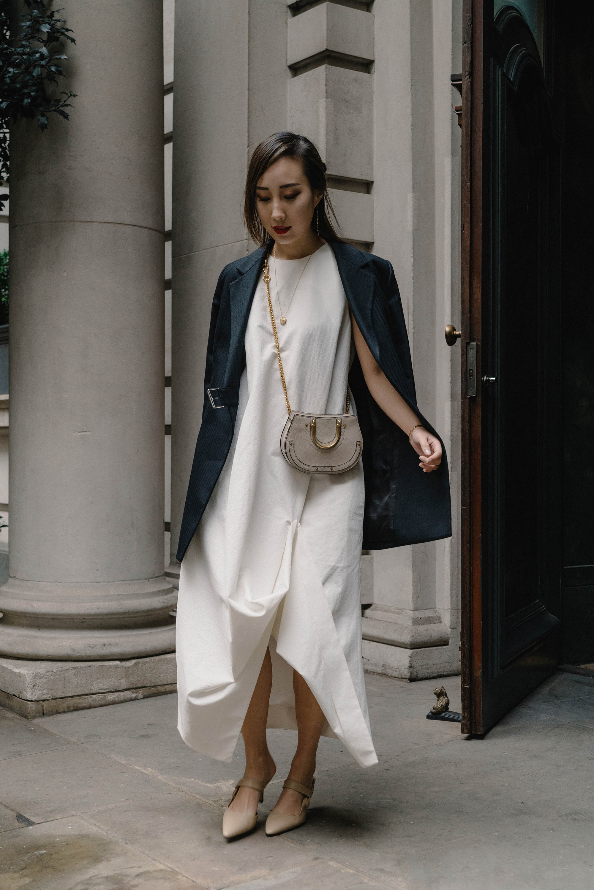 Helmut Lang Jacket , COS Dress,  The Row Heels ,  Chloe Bag