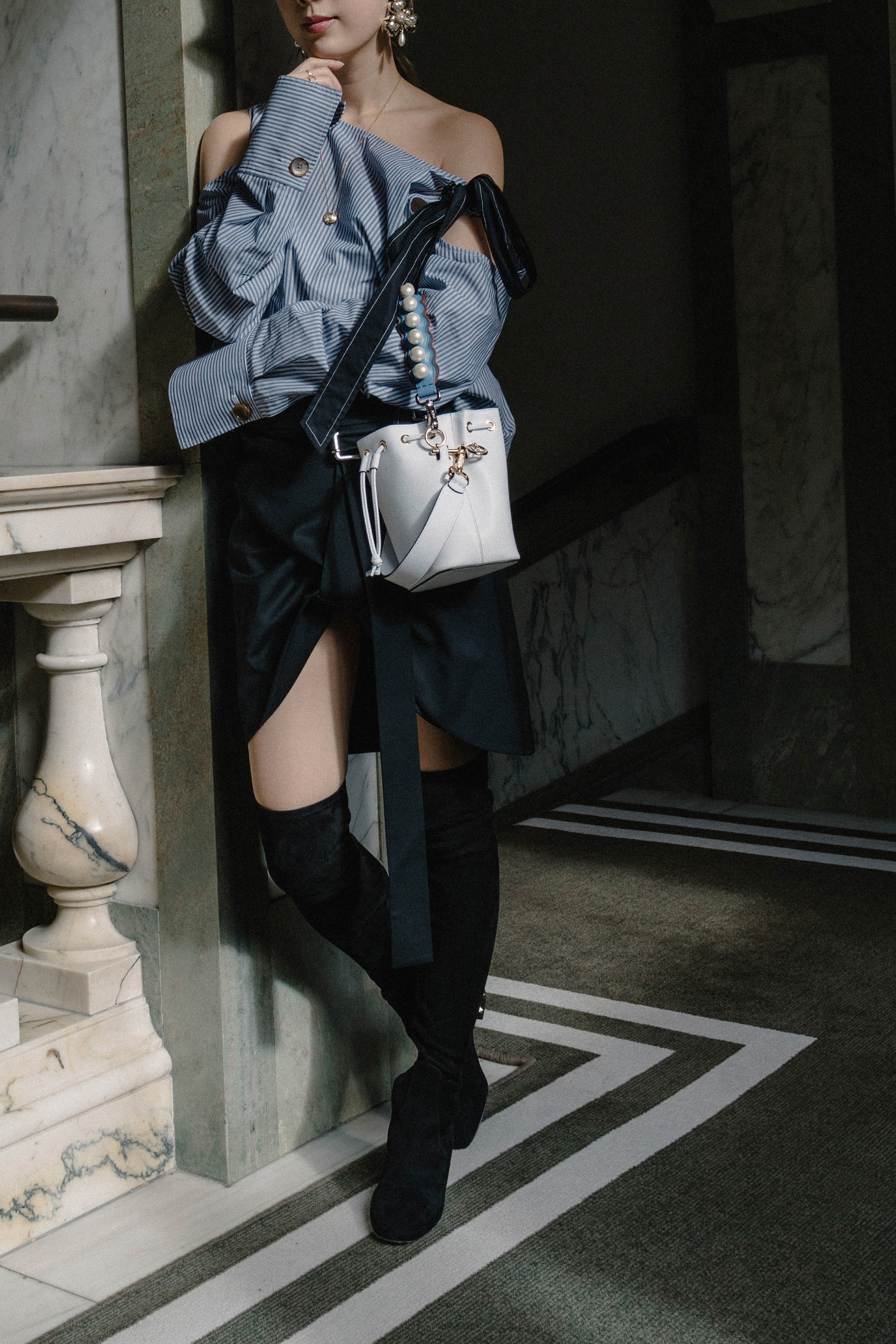 Yune Ho Top ,  Helmut Lang Skirt ,  Fendi Bag ,  Valentino Boots ,  Eugenia Kim Hat ,  Erdem Earrings