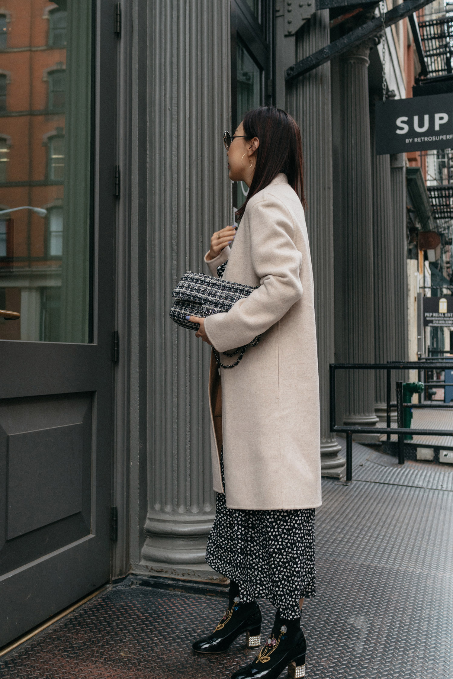 Theory Coat,  & Other Stories Dress ,  Gucci Boots , Chanel Bag