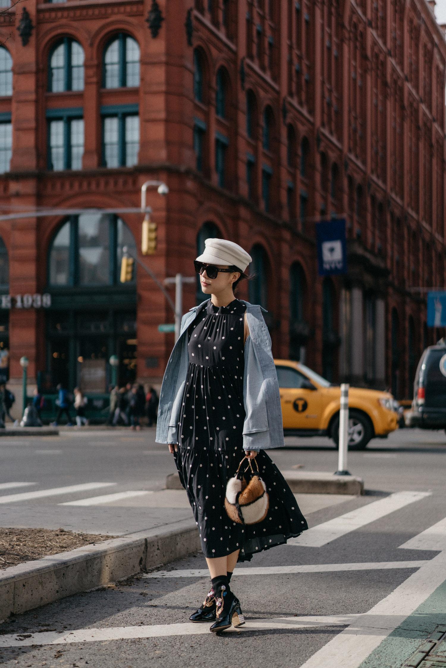 Sezane Jacket ,  Asceno Dress ,  Gucci Boots , Salvatore Ferragamo Bag,  Ruslan Baginskiy Hat , Celine Sunglasses