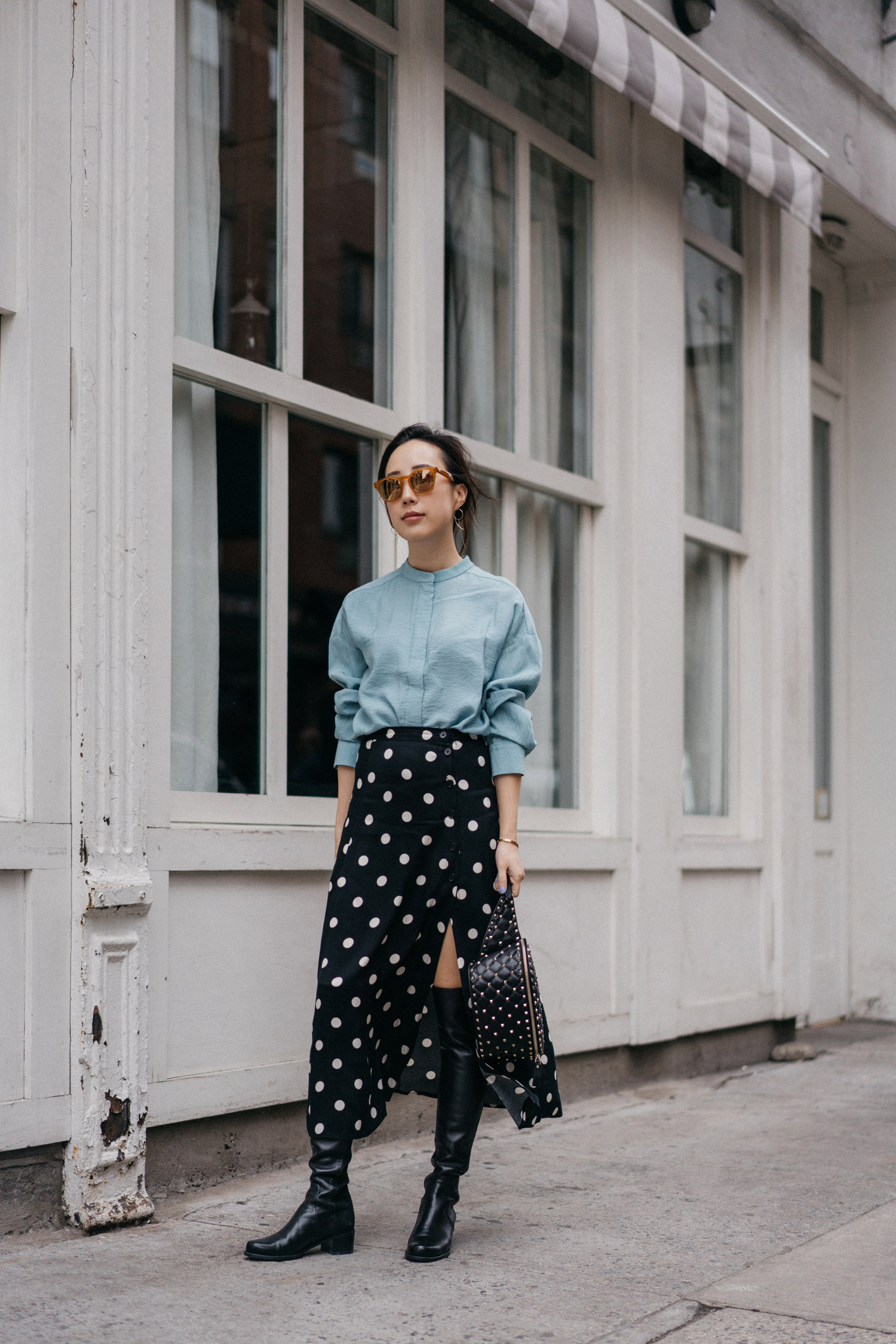 COS Top,  Reformation Skirt ,  Stuart Weitzman Boots , Valentino Bag, Oliver Peoples x Byredo Sunglasses