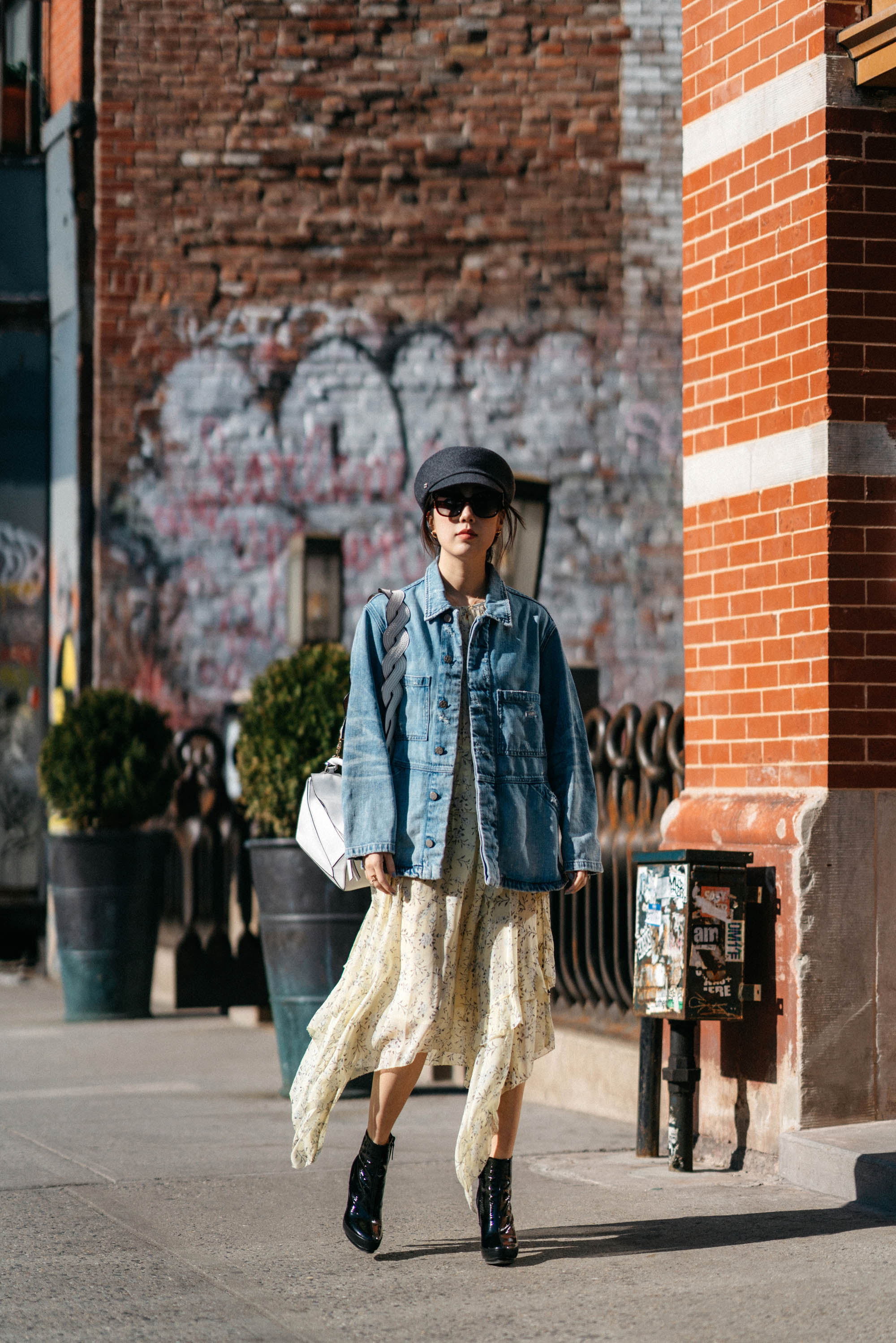 Amo Jacket ,  Ulla Johnson Dress , Balenciaga Boots, Loewe Bag, Hermes Hat