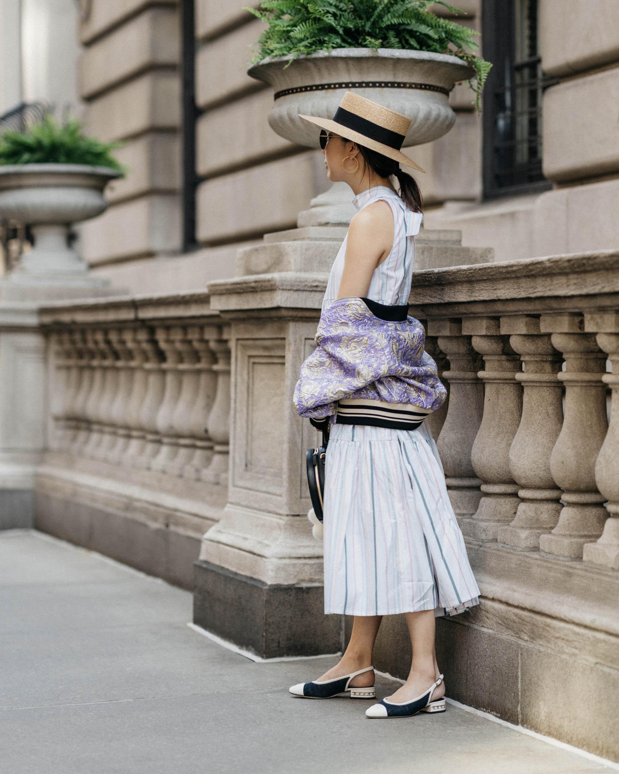 Dries Van Noten Jacket,  Asceno Dress , Chanel Shoes,  Mansur Gavriel Bag ,  Gucci Hat