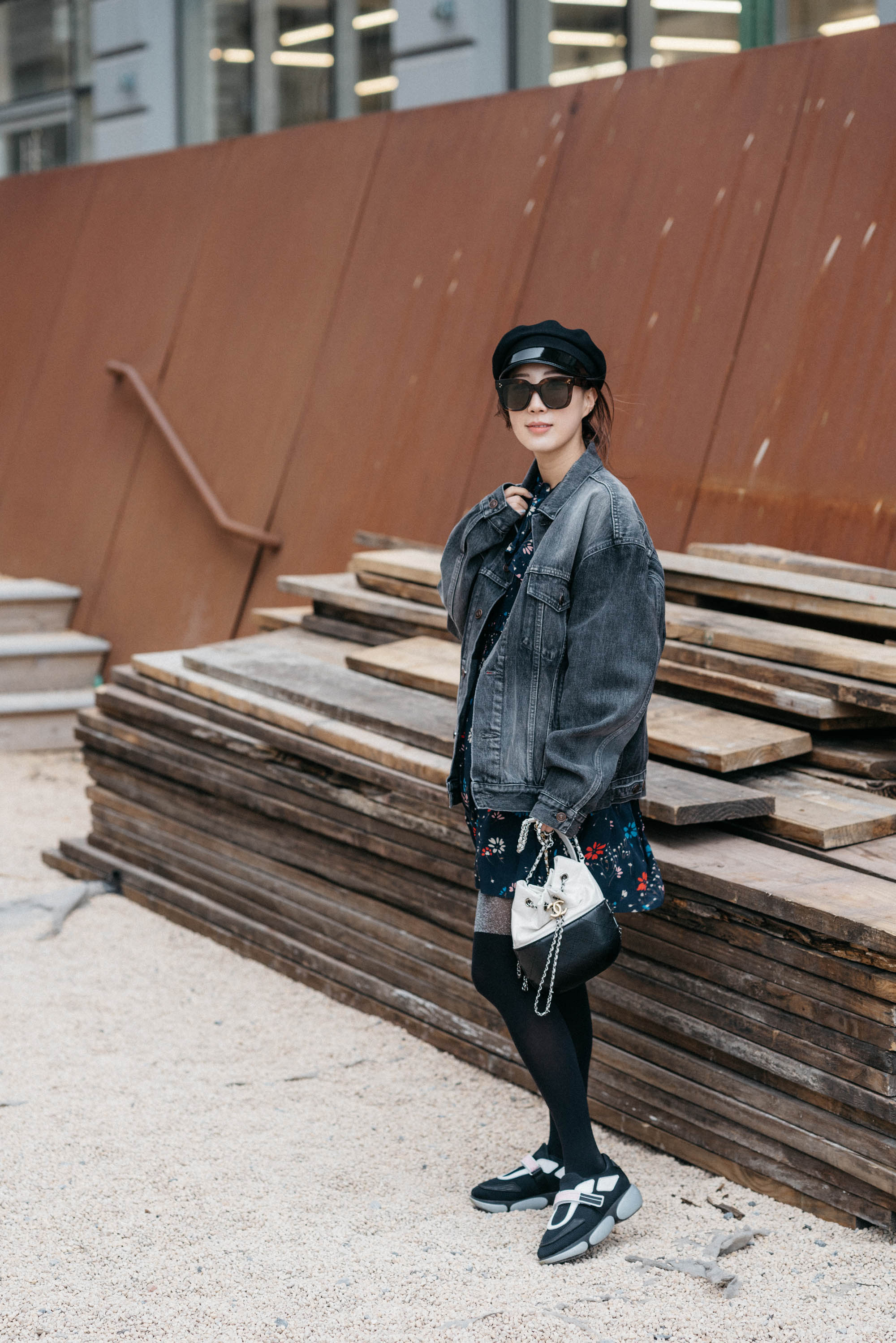 Balenciaga Jacket, Balenciaga Dress,  Prada Sneakers , Chanel Bag, Celine Sunglasses, Gucci Hat