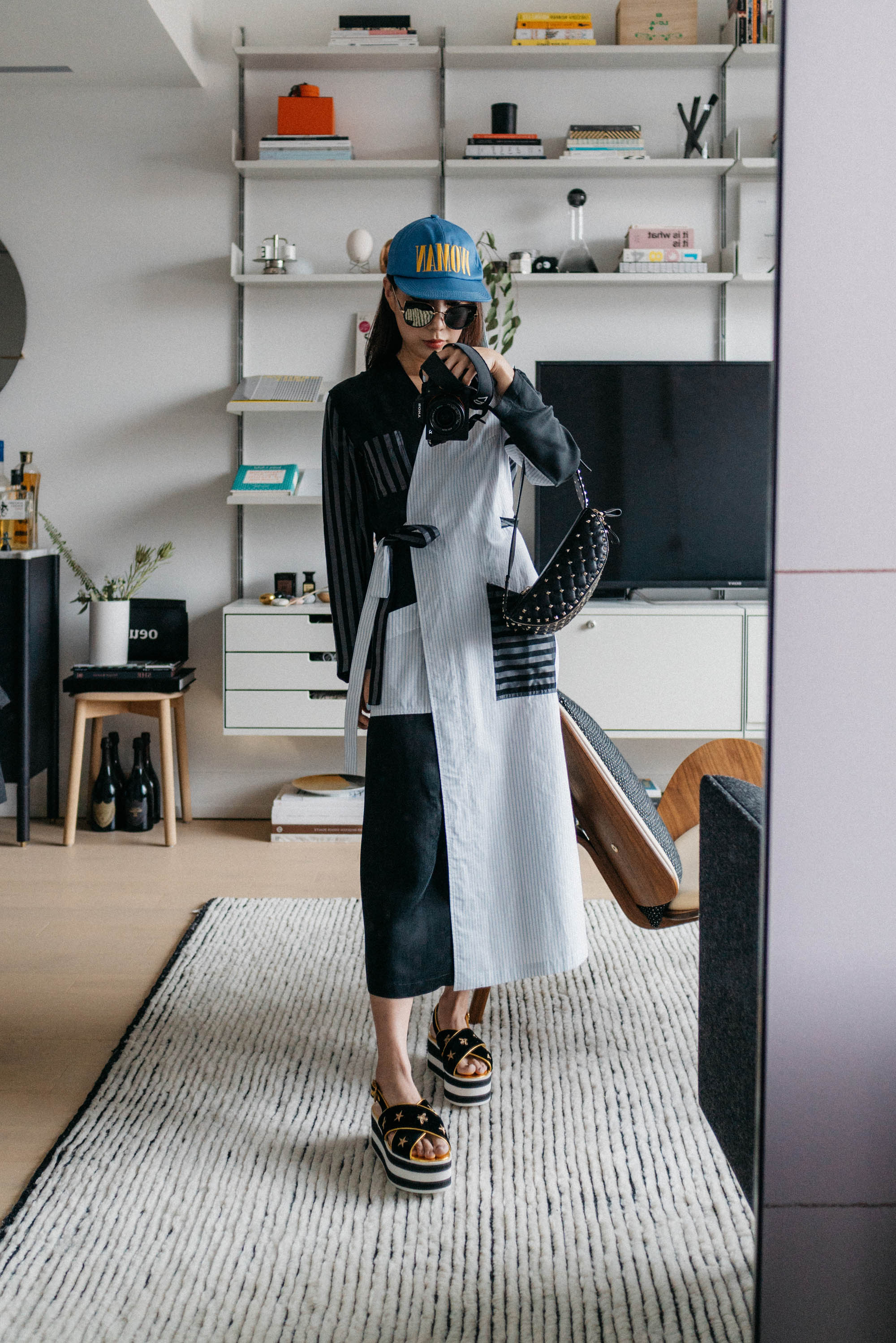 MM6 Maison Margiela Jacket,  Gucci Sandals , Valentino Bag, Gentle Monster Sunglasses,  Off-White Hat