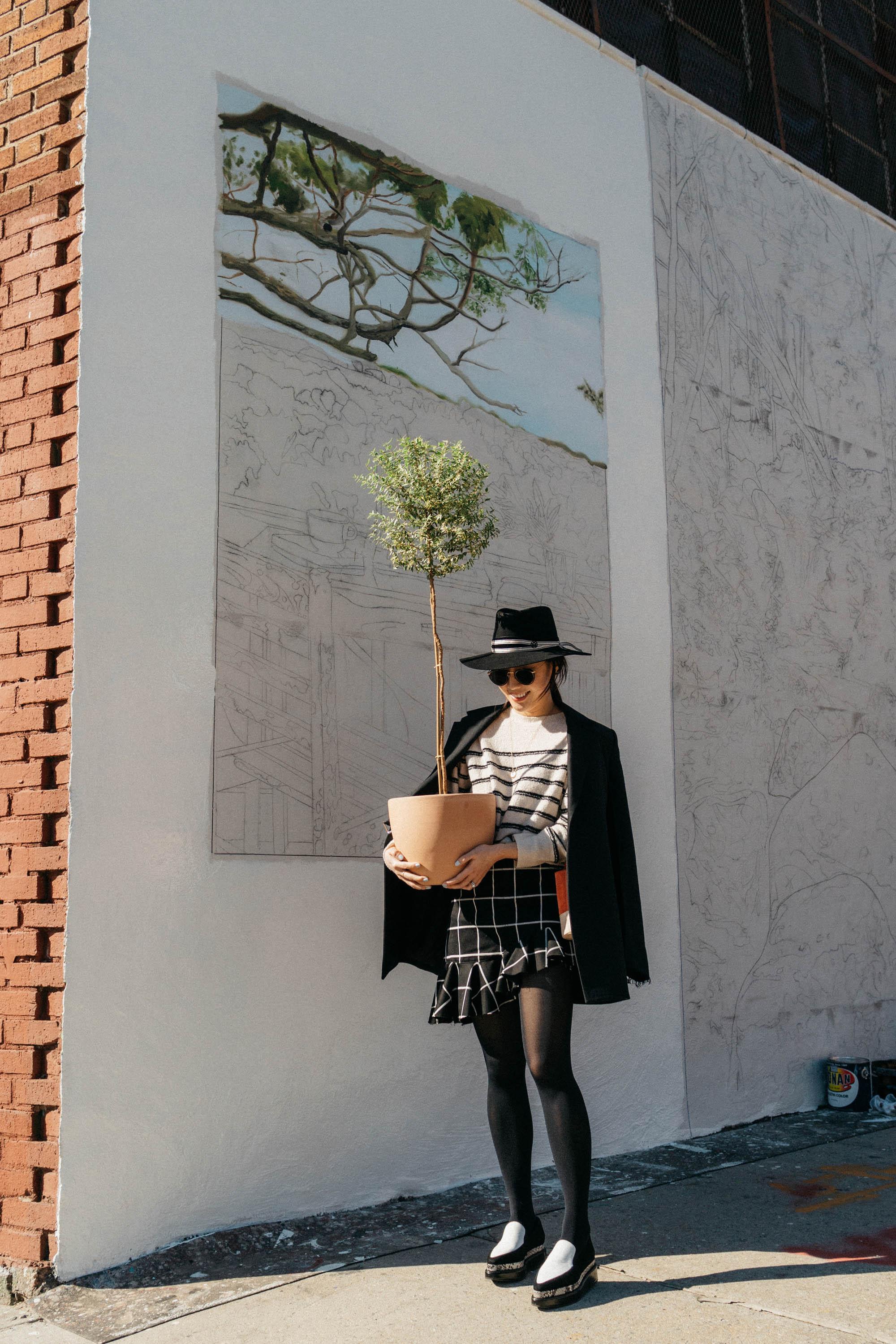 Helmut Lang Blazer, Vince Top, Marques Almeida Skirt,  Seven All Around Shoes , Maison Michel Hat,  Arran Frances Bag