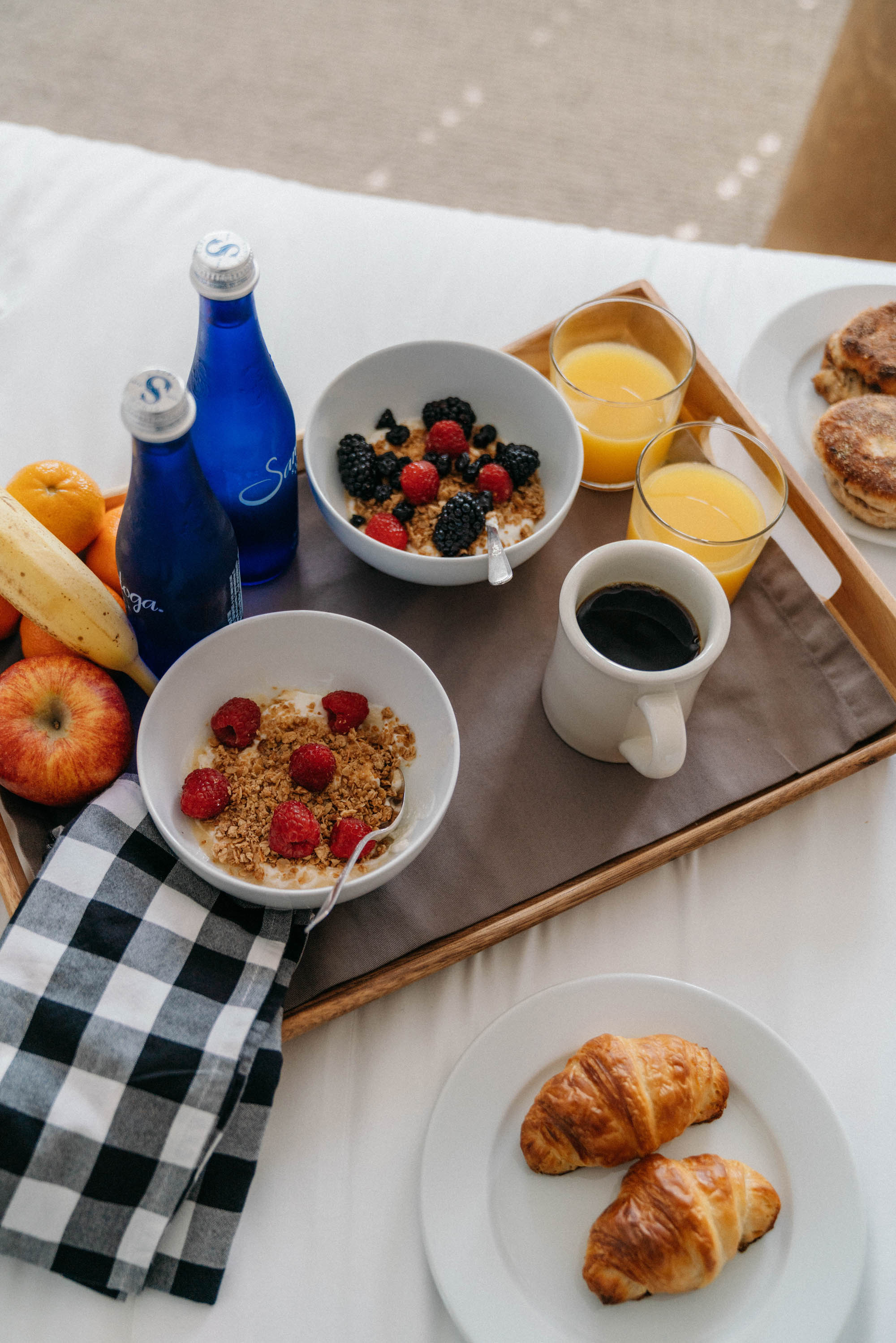 Breakfast in bed at  Graybarns on the Silvermine River