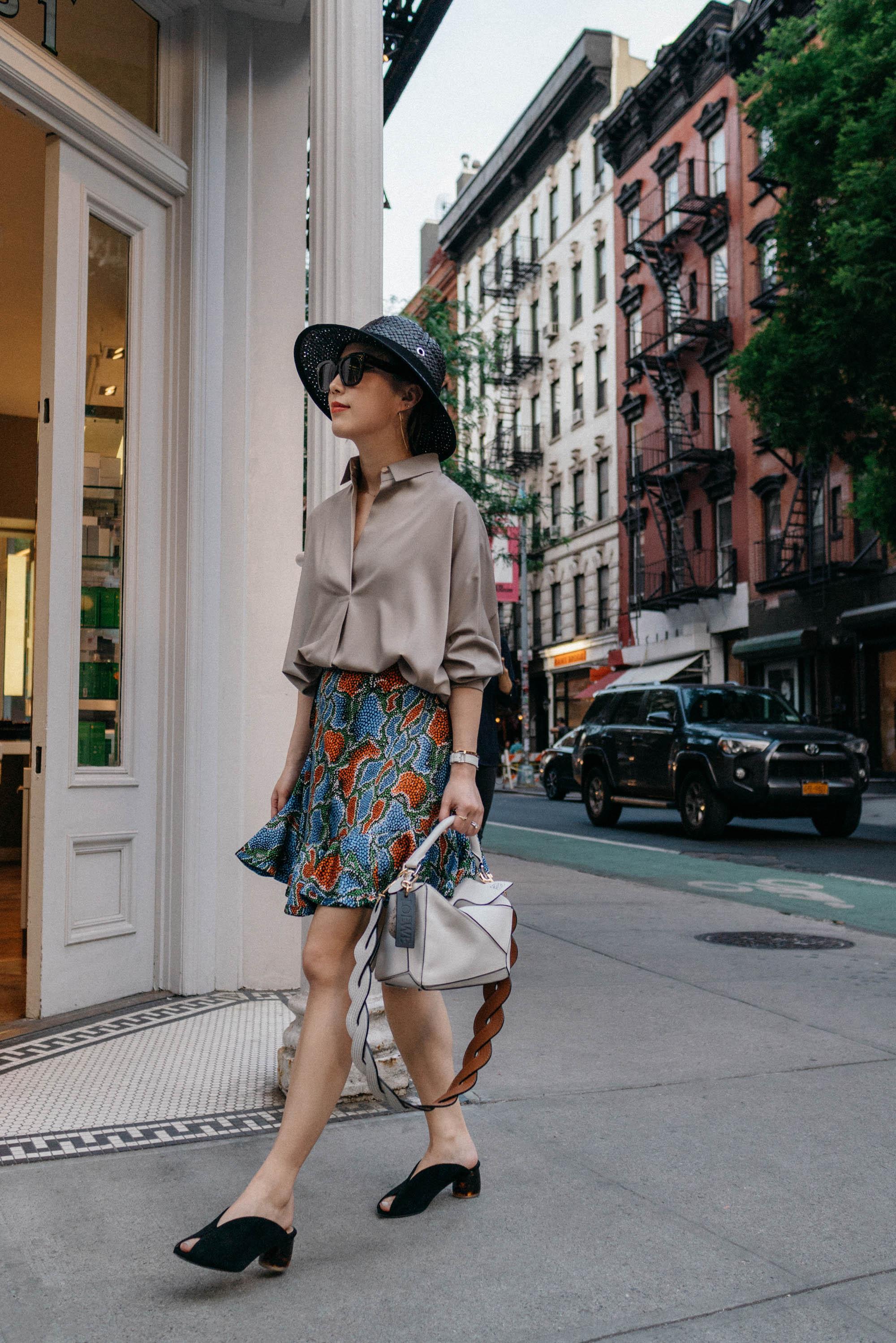 Lie Sang Bong Top, Chloe Skirt,  Dear Frances Shoes , Loewe Bag, Loewe Hat,  Celine Sunglasses ,  Hermes Watch