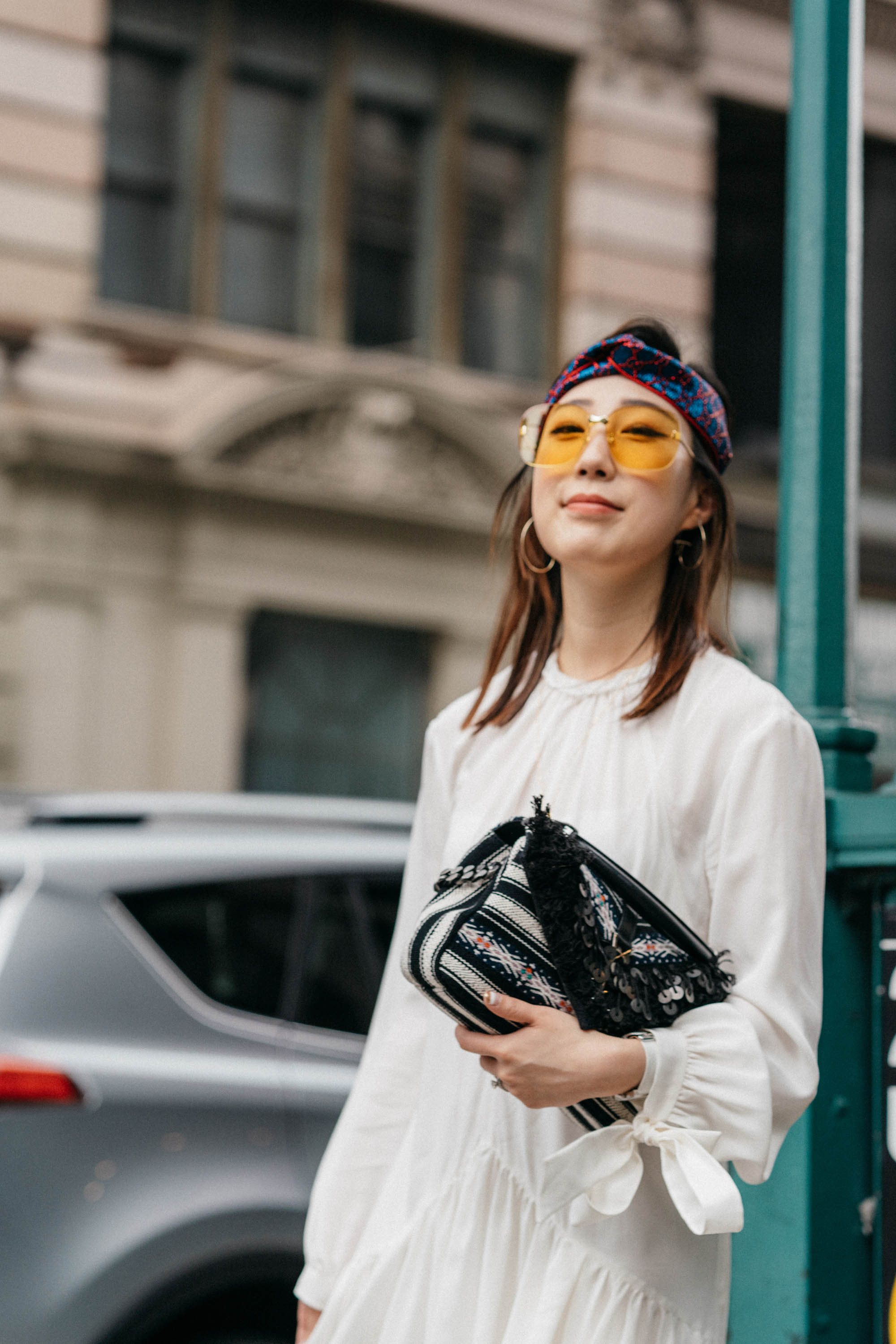 Prada Dress, Saint Laurent Bag, Gucci Sunglasses, Gucci Headband