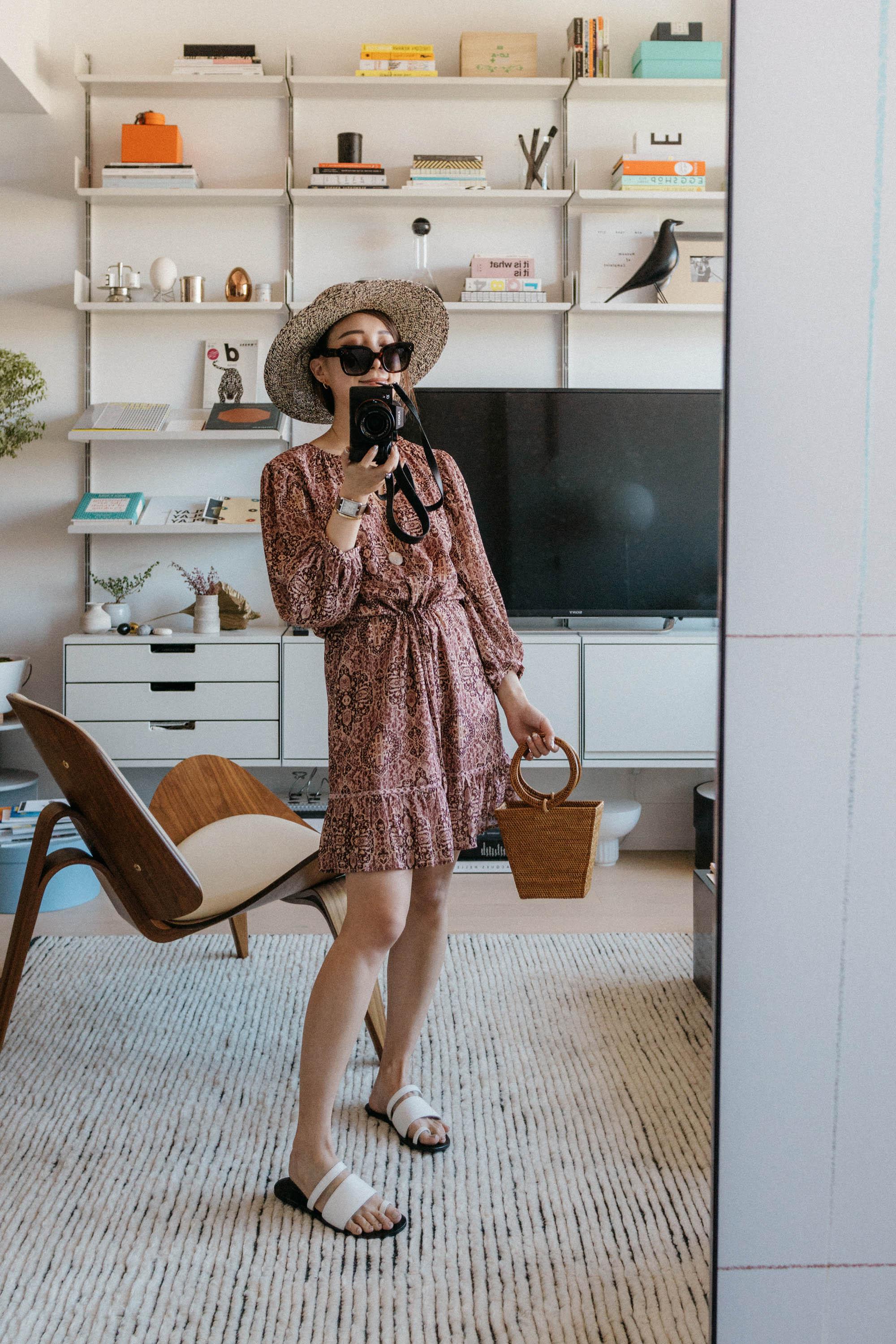 Madewell Dress ,  Cuero & Mor Sandals ,  Bembien Bag , Celine Sunglasses, Sensi Studio Hat
