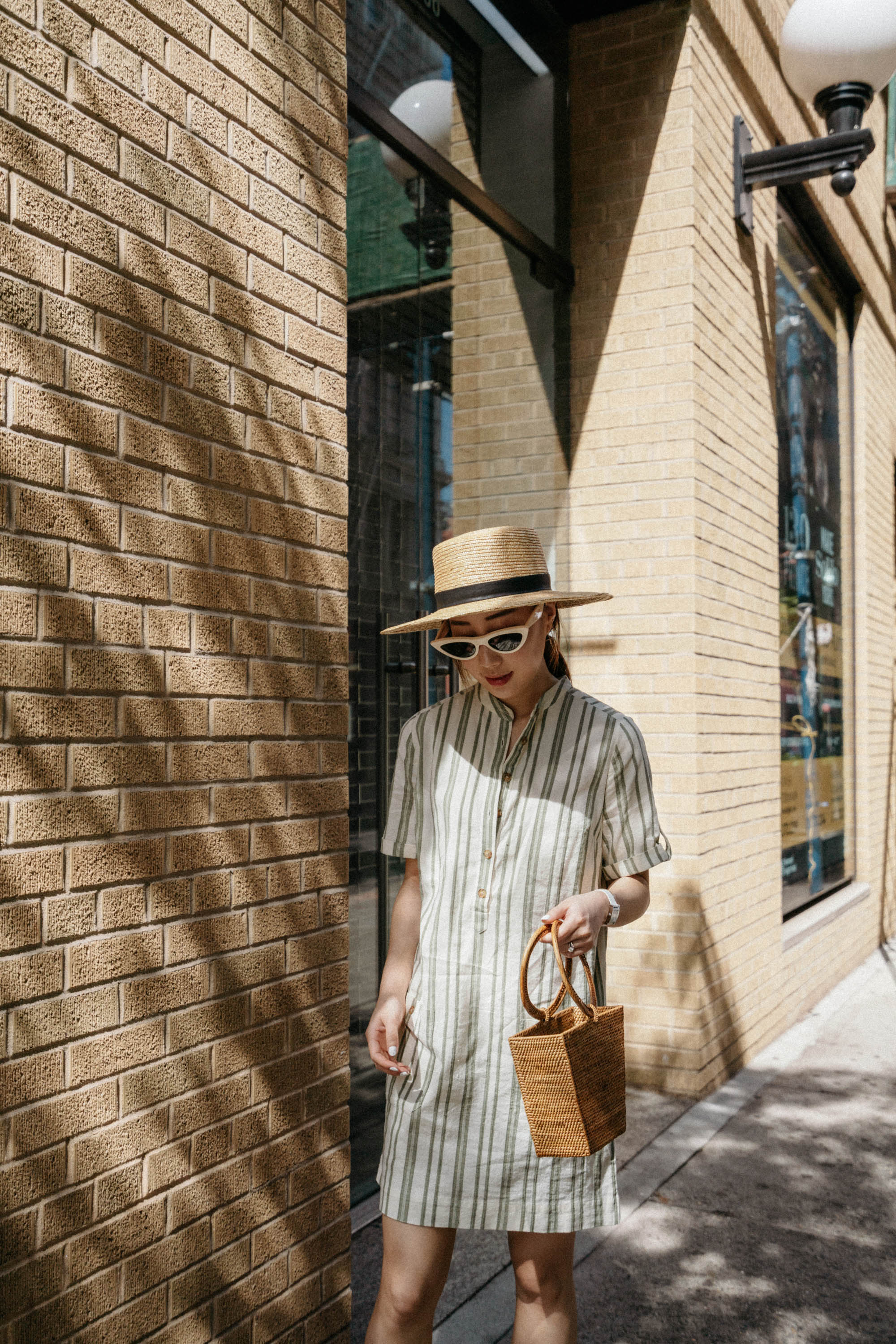 Sezane Dress ,  Bembien Bag ,  Pedro Garcia Sandals ,  Janessa Leone Hat ,  Celine Sunglasses