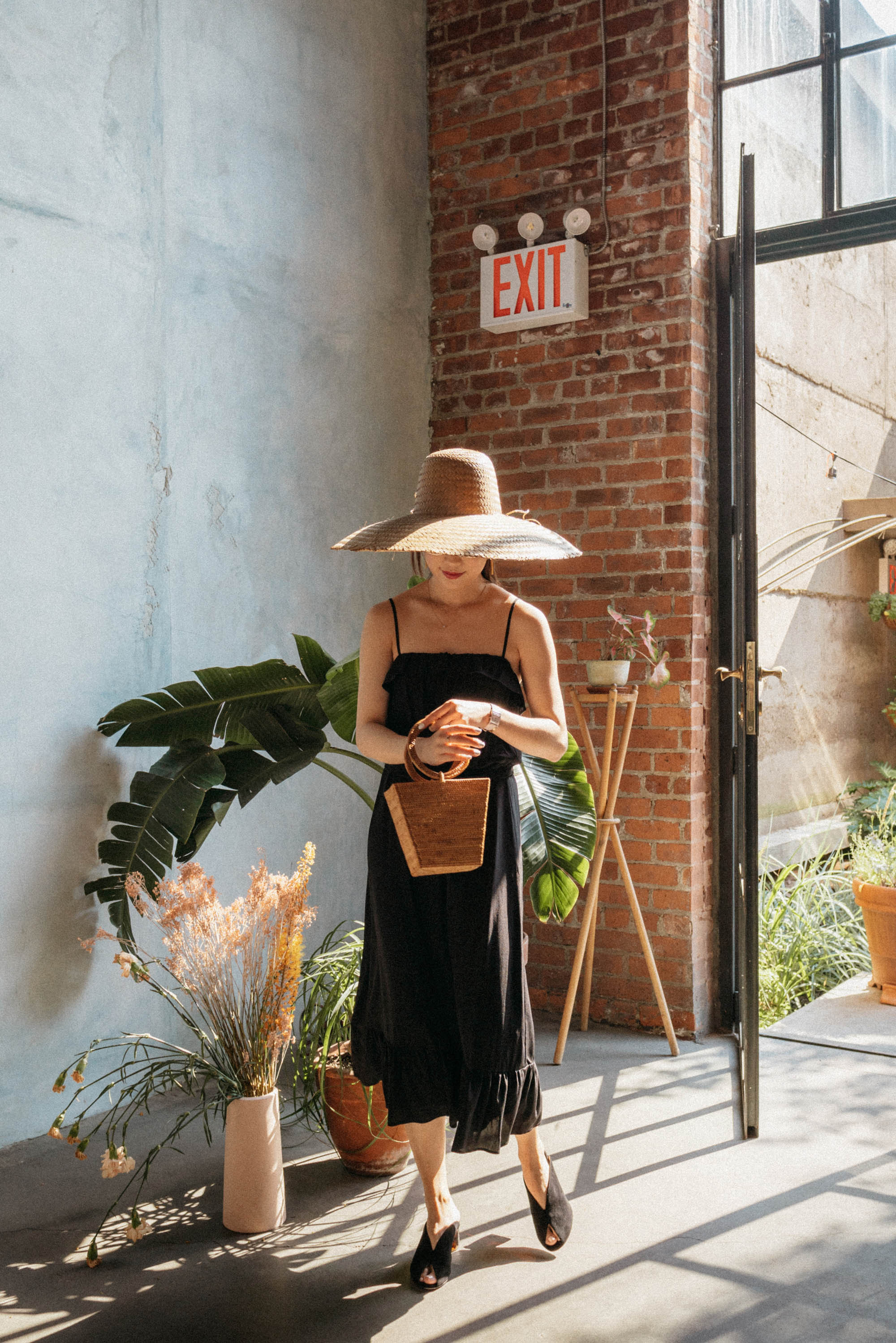 Sezane Dress ,  Dear Frances Shoes ,  Bembien Bag ,  Tio y Tia Hat ,  Celine Sunglasses