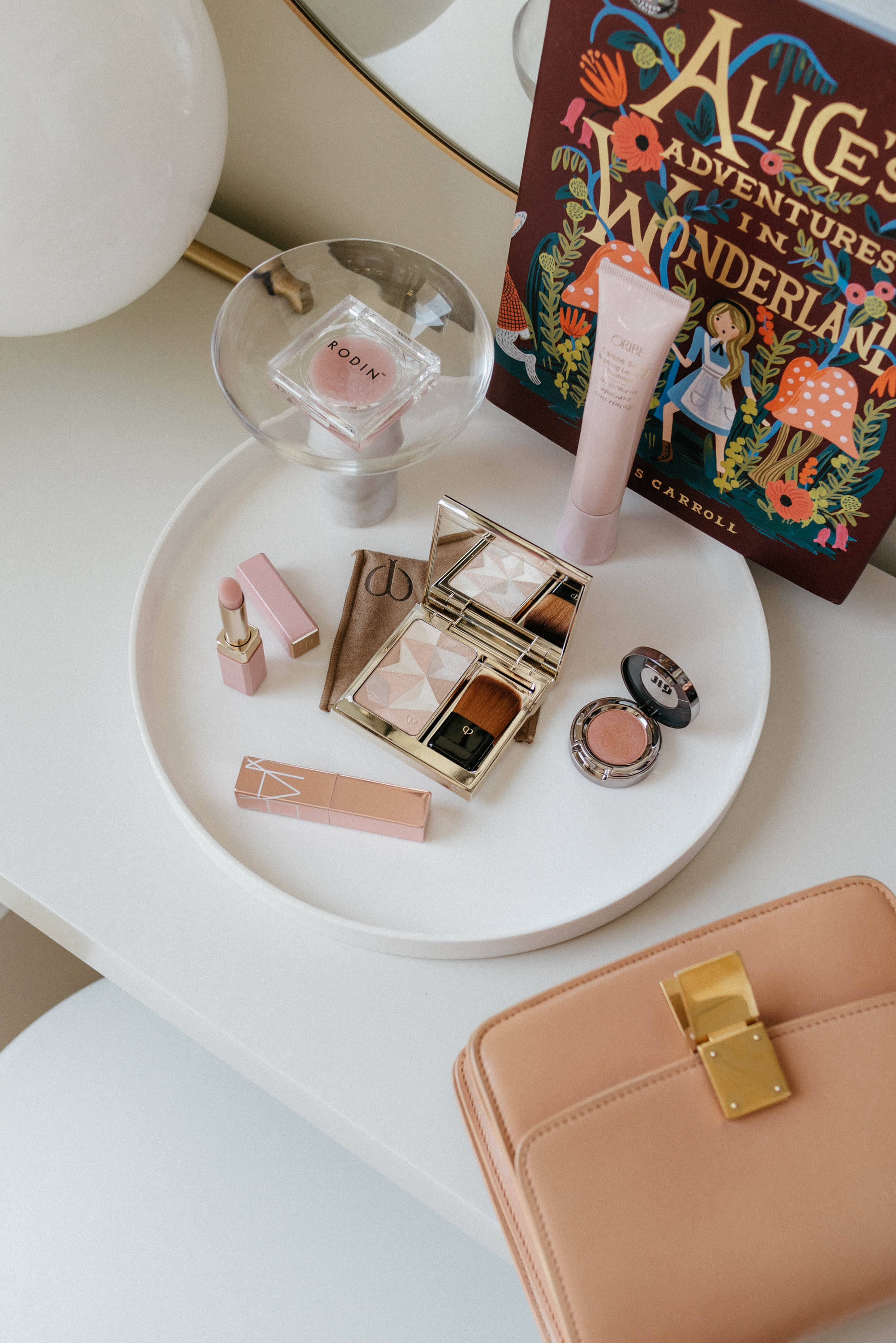 Celine Bag,  Clé de Peau Beauté Face Enhancer ,  Clé de Peau Beauté Lip Glorifier ,  NARS Lip Balm ,  RODIN Lip Balm ,  Oribe Scalp Treatment