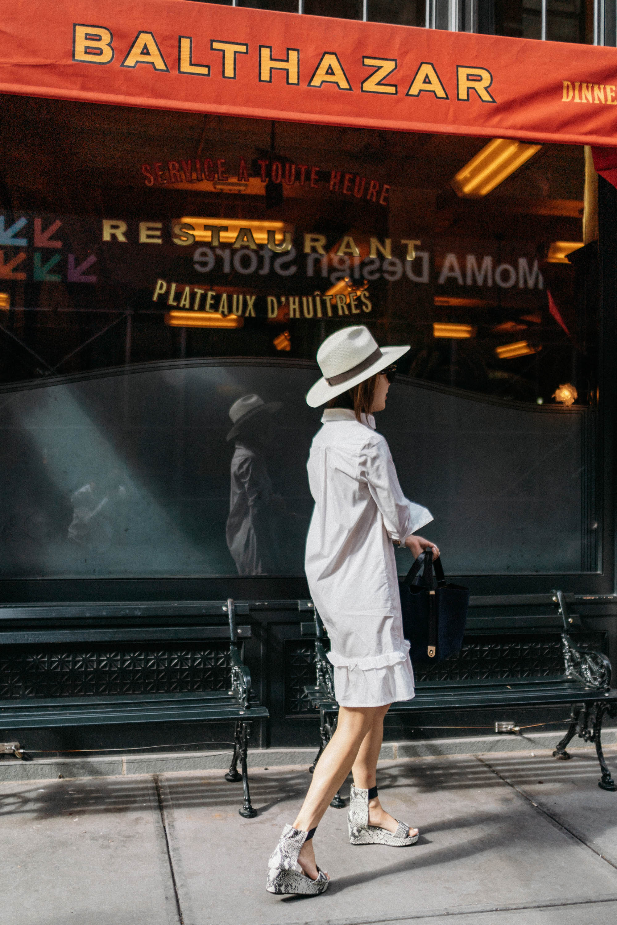 J.W. Anderson Dress,  Seven All Around Sandals ,  Sophie Hulme Bag ,  Janessa Leone Hat