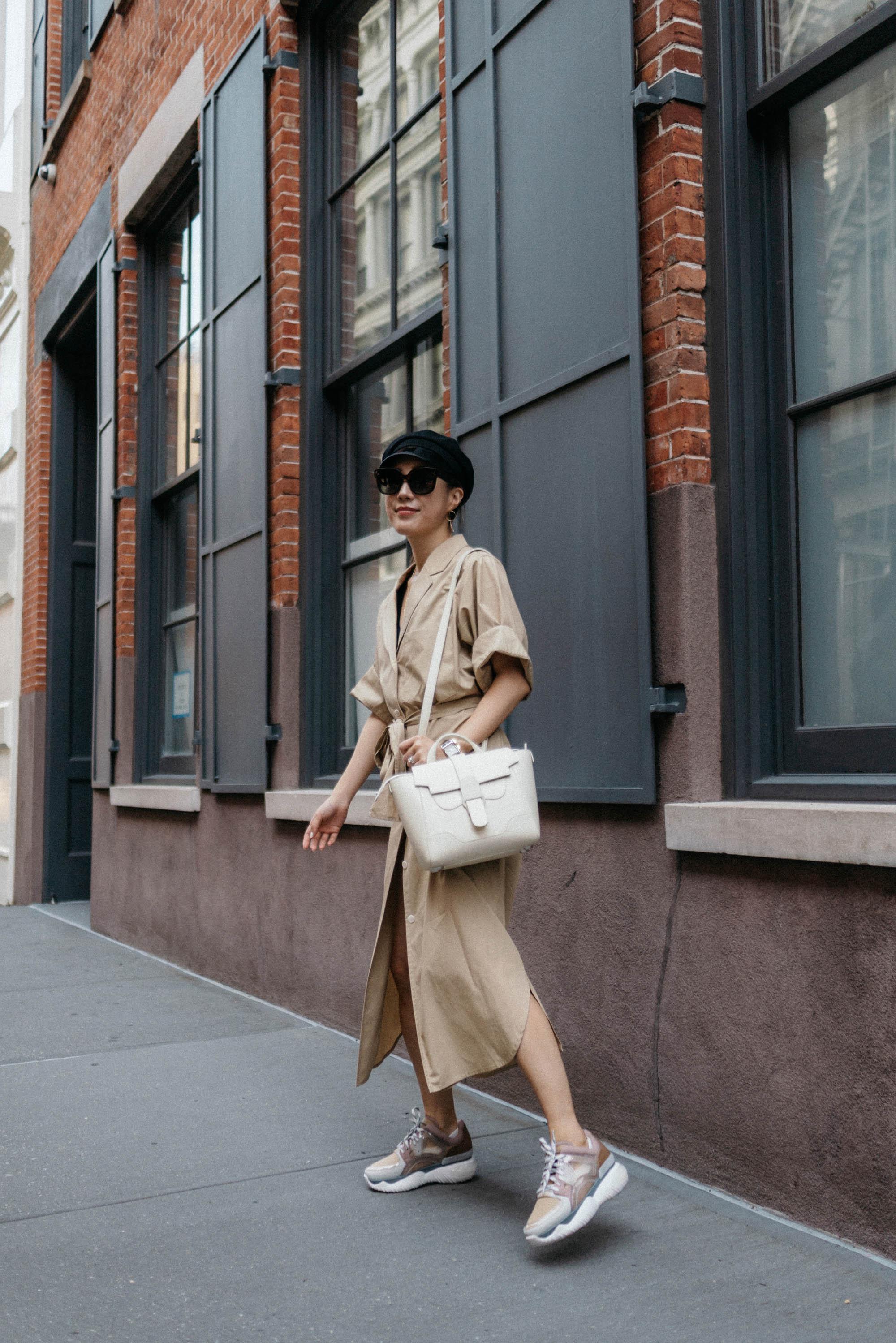 Yune Ho Dress ,  Fendi Sneakers ,  Senreve Bag , Gucci Hat,  Celine Sunglasses