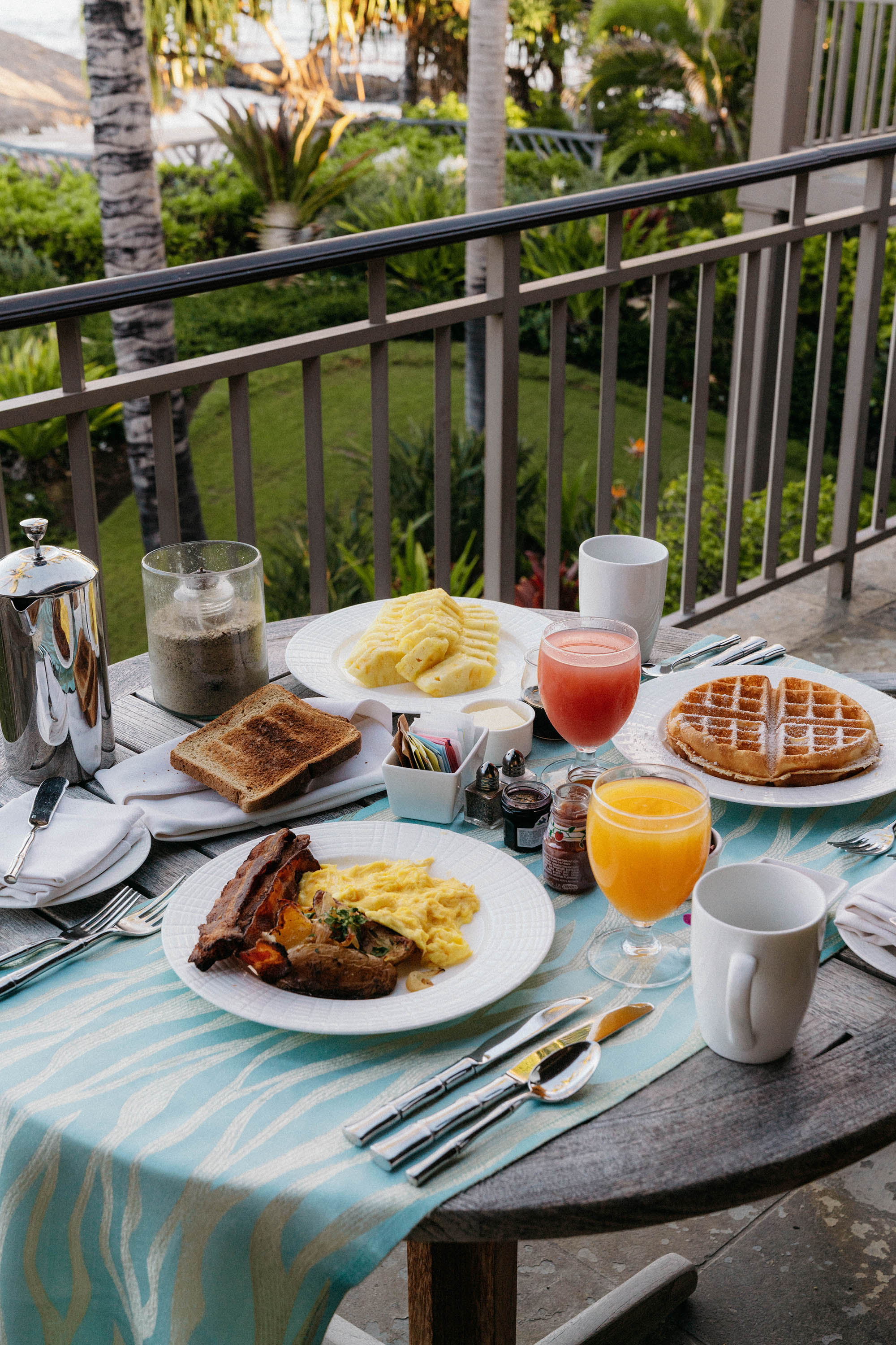 First morning breakfast on the terrace – started off with classic dishes