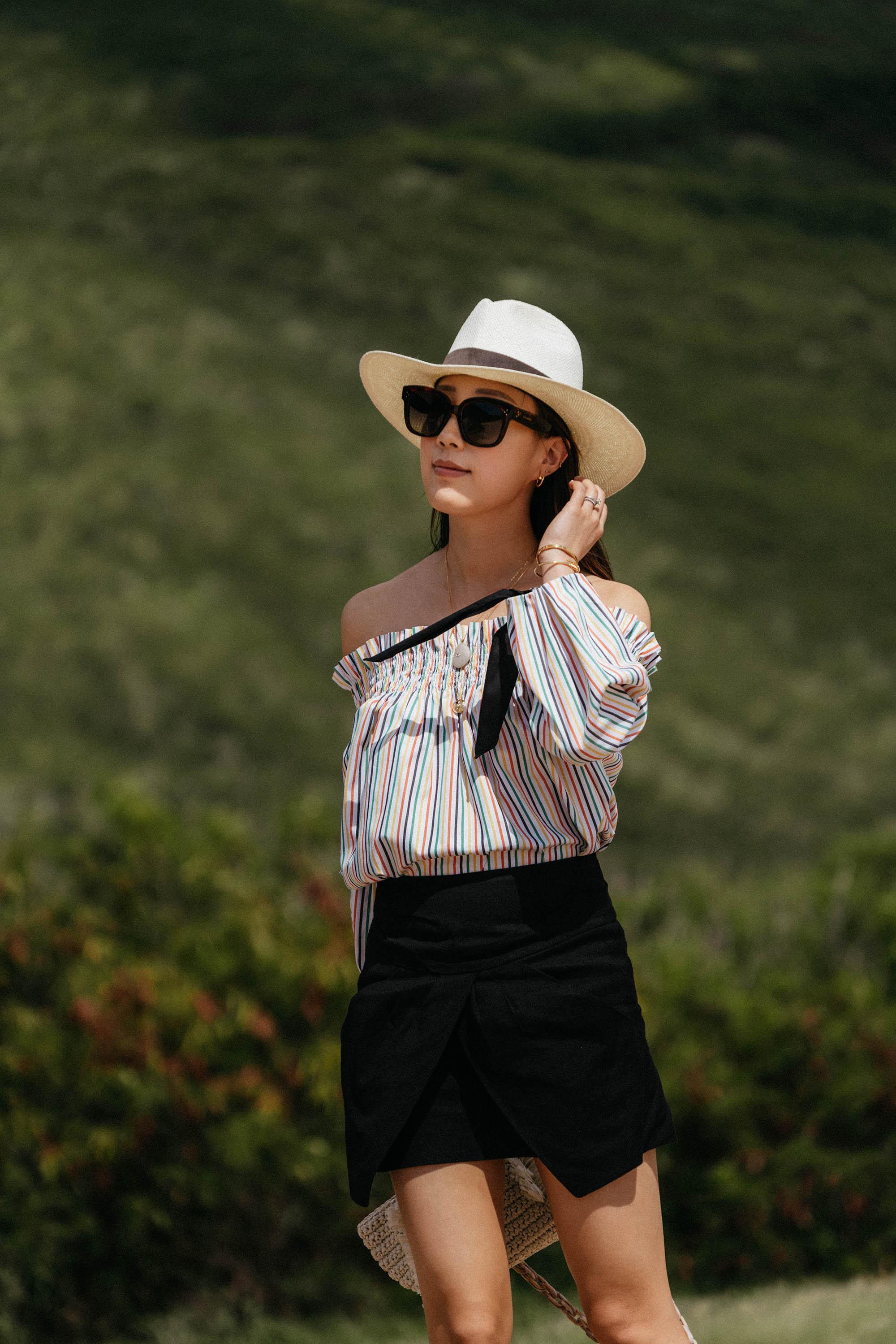 Caroline Constas Top, Isabel Marant Skirt, Celine Sunglasses,  Seven All Around Sandals ,  Carolina Santo Domingo Bag ,  Janessa Leone Hat