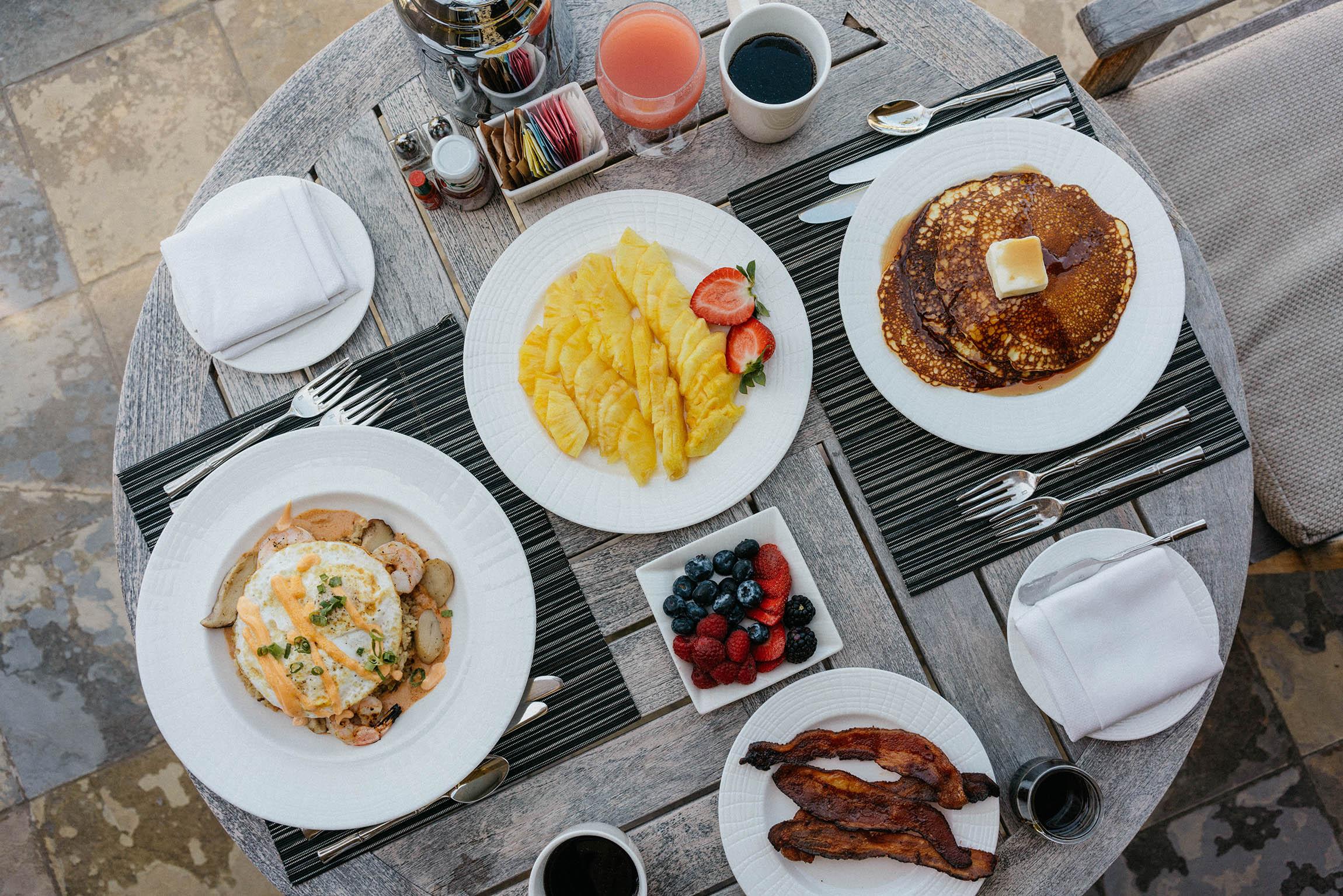 In-room breakfast the next morning of Hawaiian Loco Moco, Pineapple, and Lemon Ricotta Pancakes