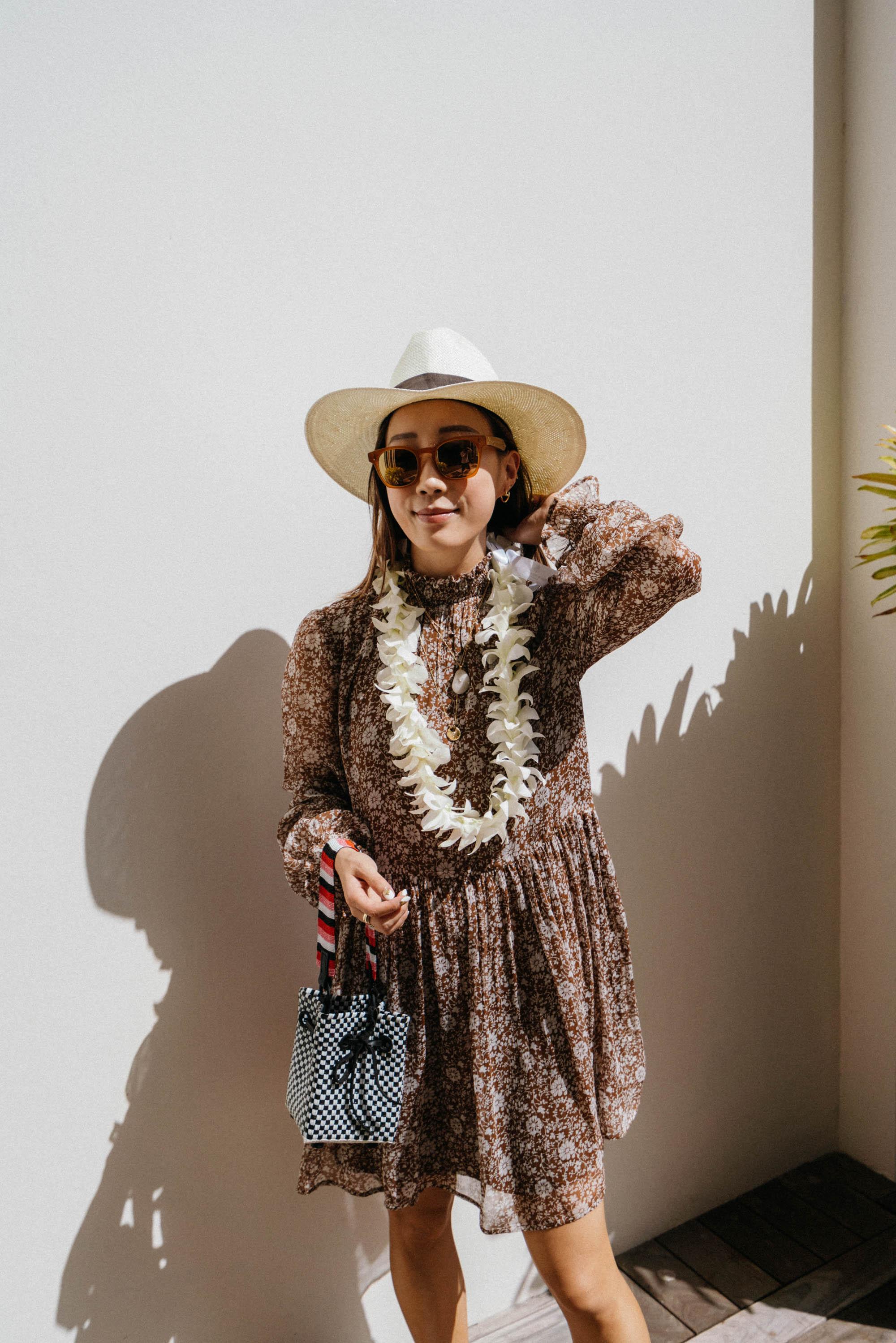 Sezane Dress ,  Truss Bag , Oliver Peoples x Byredo Sunglasses,  Janessa Leone Hat