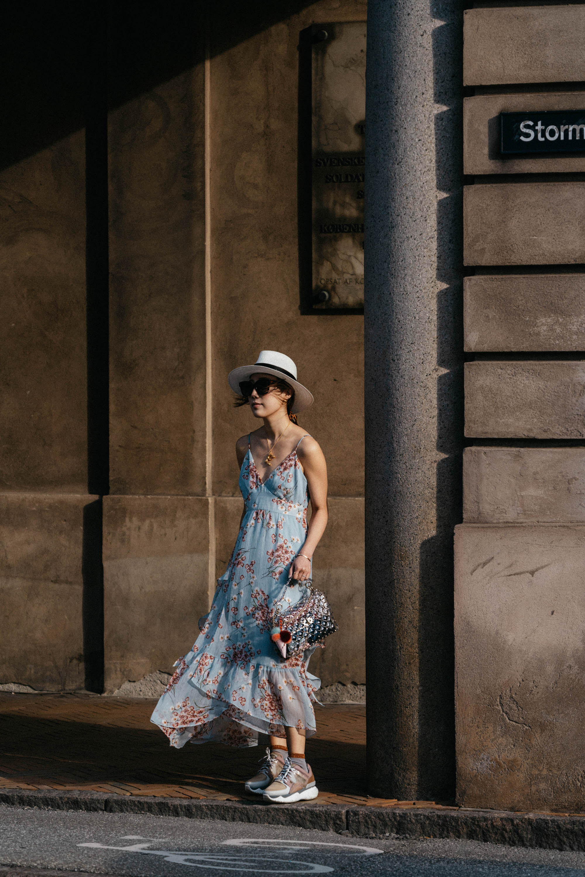 FiveSeventyFive Dress ,  Fendi Sneakers ,  Valentino Bag , Maison Michel Hat, Céline Necklace