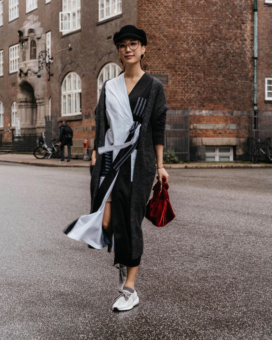 Acne Studios Cardigan, MM6 Dress, adidas Sneakers, The Row Bag,  Eugenia Kim Hat ,  Linda Farrow Glasses