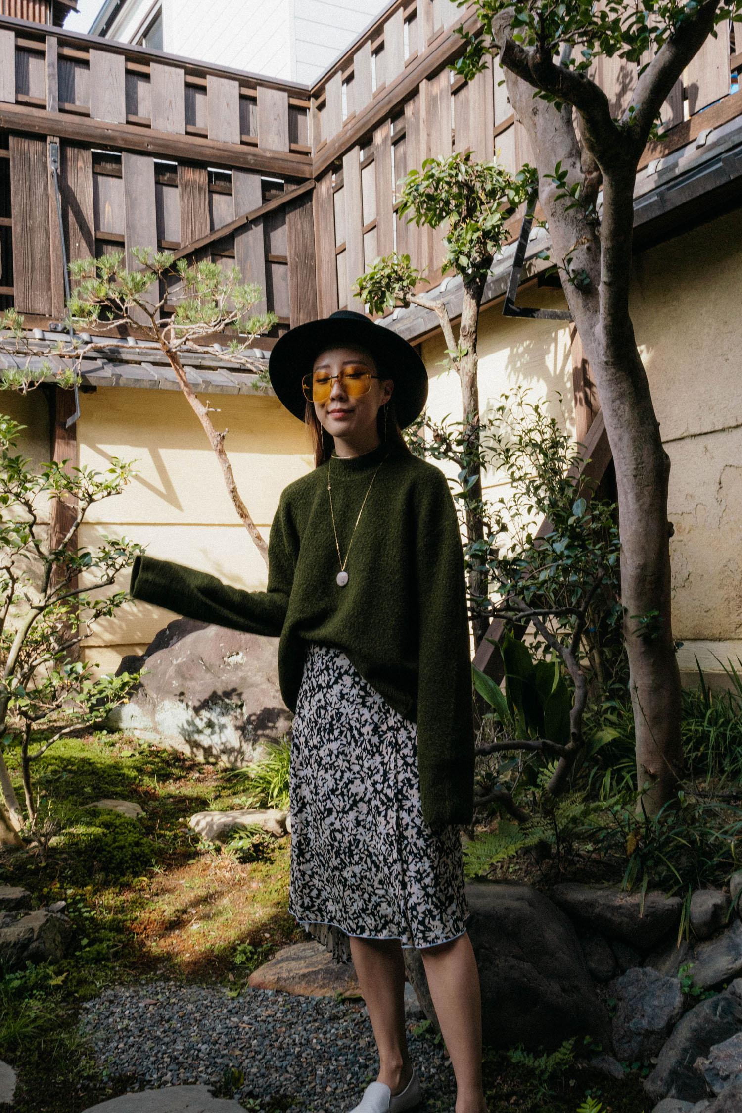 COS Sweater , Proenza Schouler Skirt, The Row Shoes, Maison Michel Hat, Gucci Sunglasses, CVC Stones Necklace