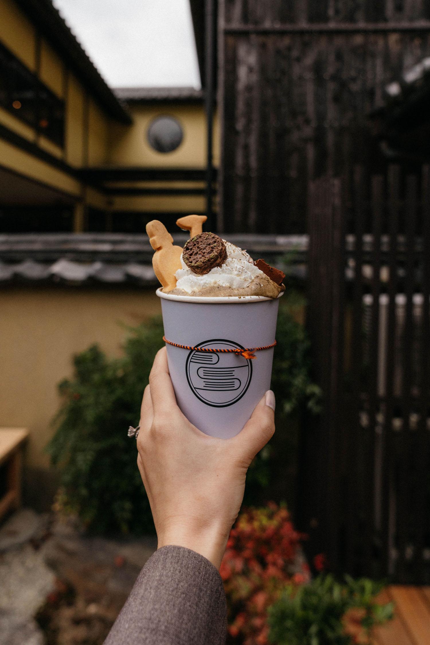 Roasted green tea / floatie break after Nara Park
