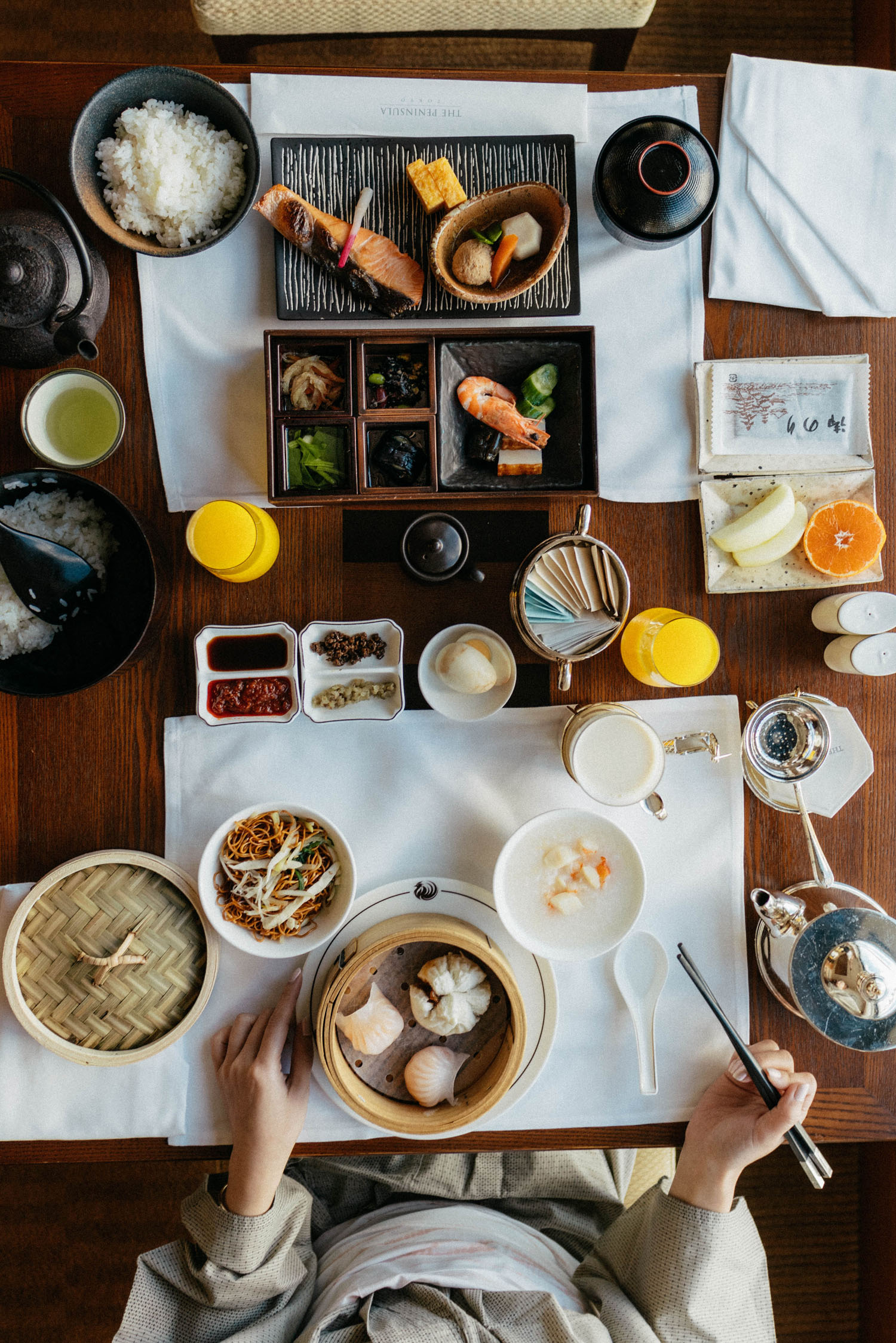 In-room dining at the  Peninsula Tokyo  – Japanese breakfast for the hubby and Chinese breakfast for me.