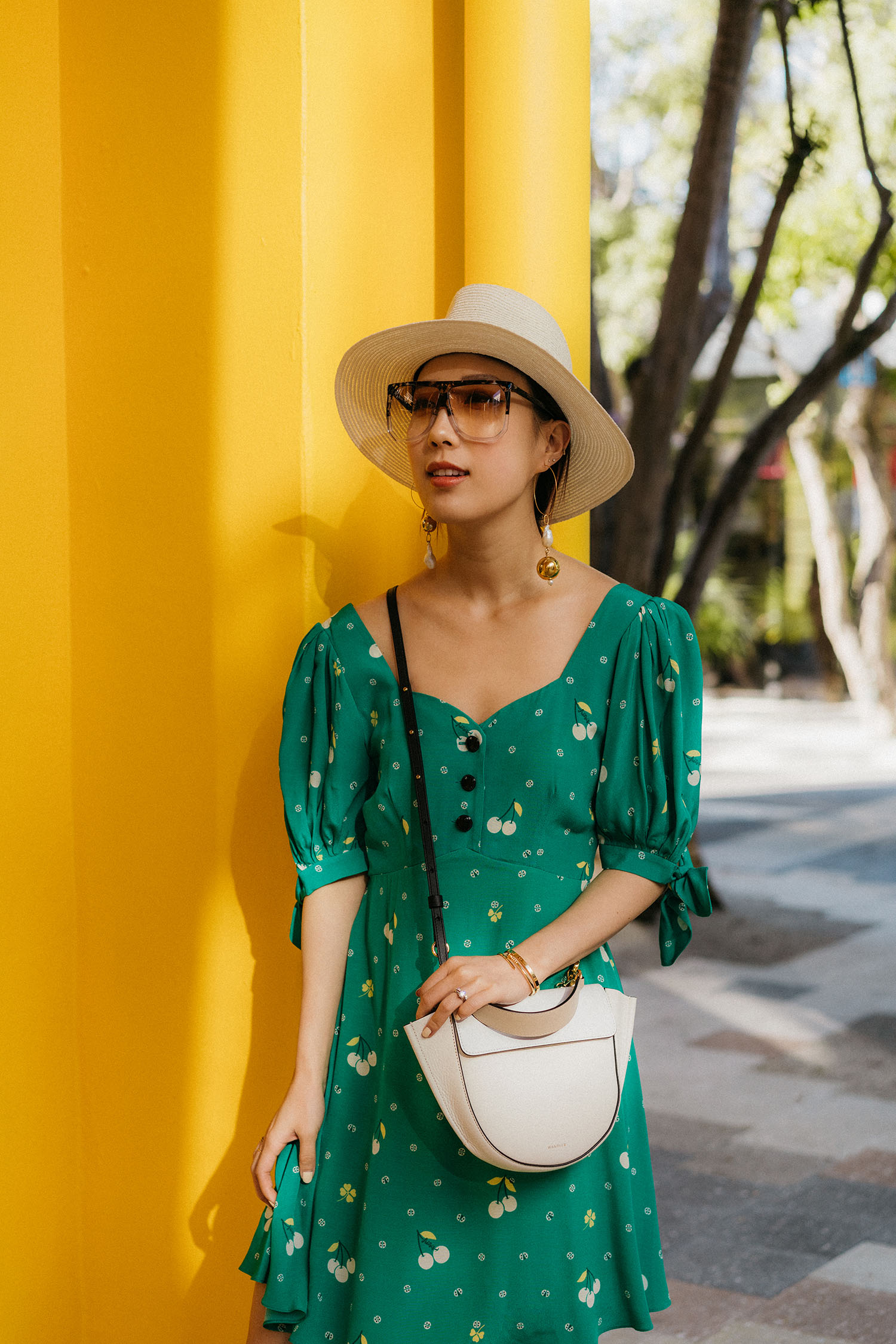 Sretsis Dress ,  Loewe Sunglasses ,  Mounser Earrings , Maison Michel Hat,  Wandler Bag