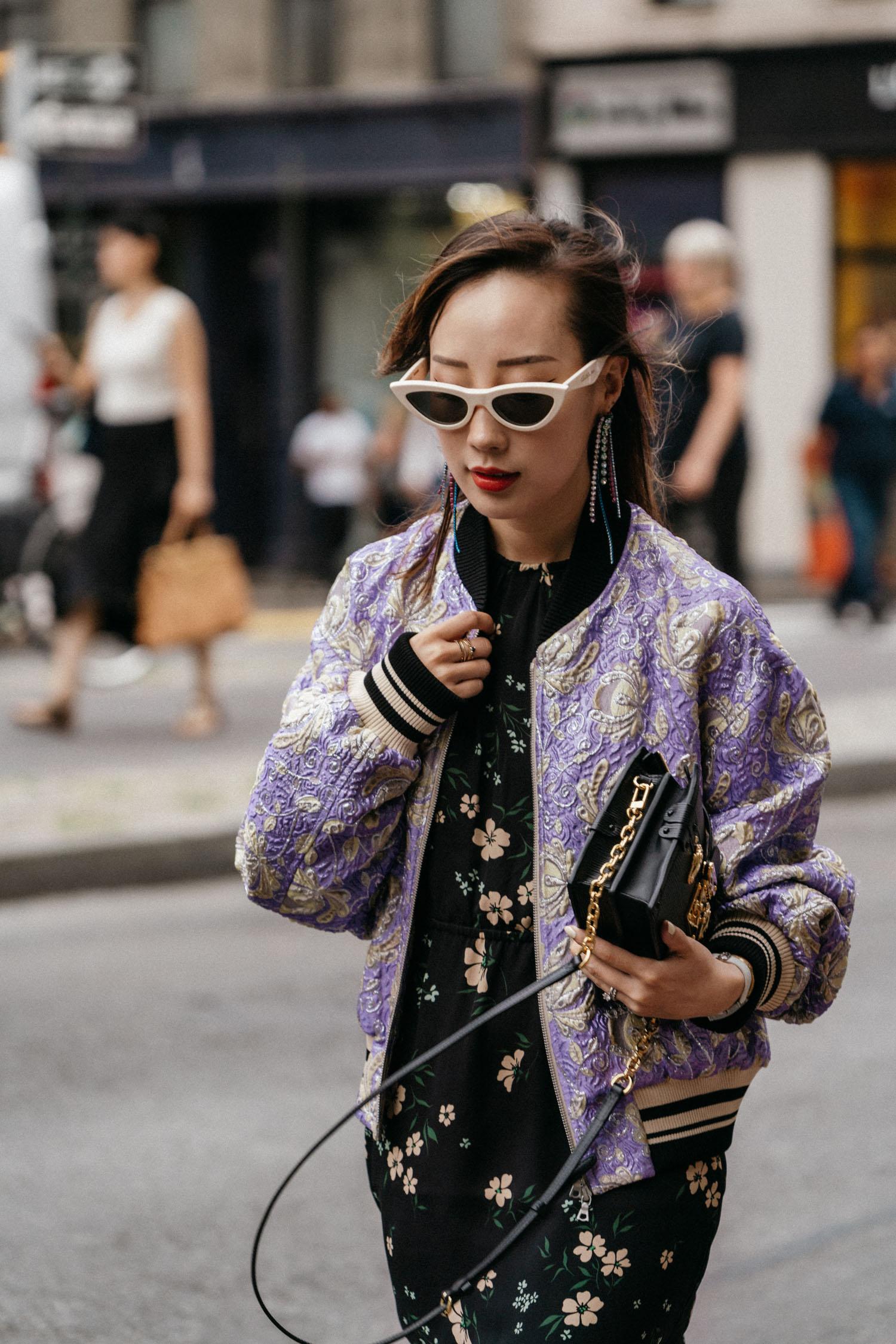 Dries Van Noten Jacket, Aritzia Dress,  Stuart Weitzman Boots ,  Louis Vuitton Bag ,  Céline Sunglasses ,  AREA Earrings