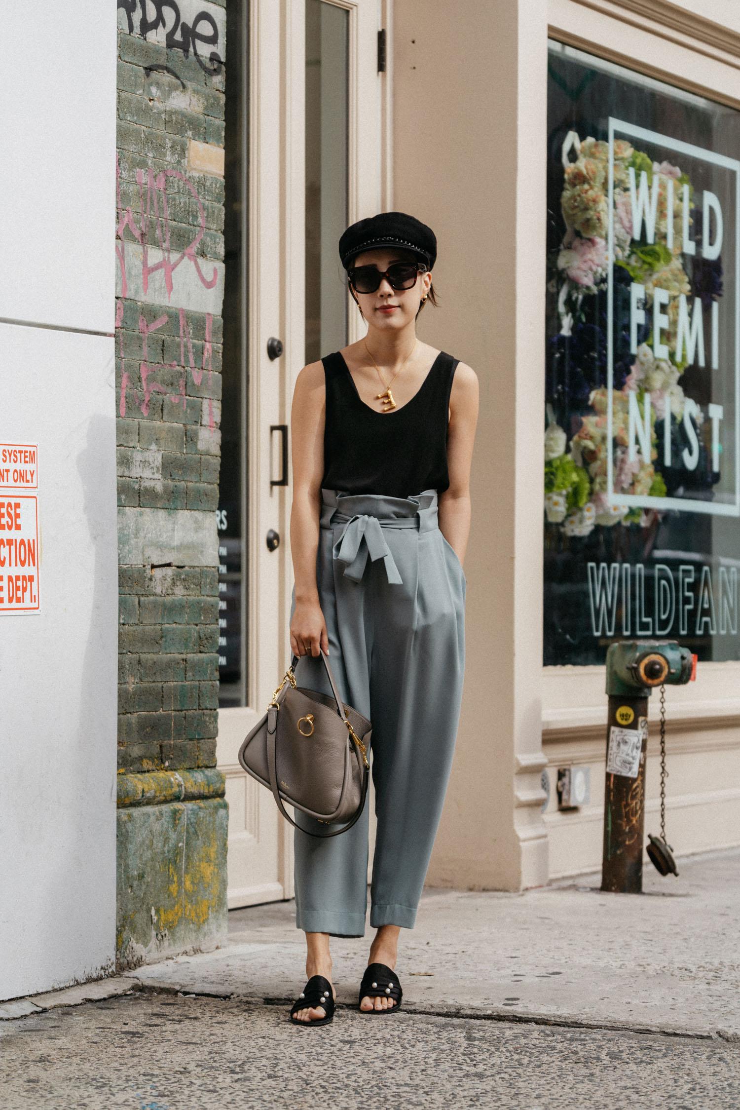 Chloé Top,  Petite Studio Pants ,  Dear Frances Sandals ,  Mulberry Bag ,  Eugenia Kim Hat , Céline Sunglasses, Céline Necklace