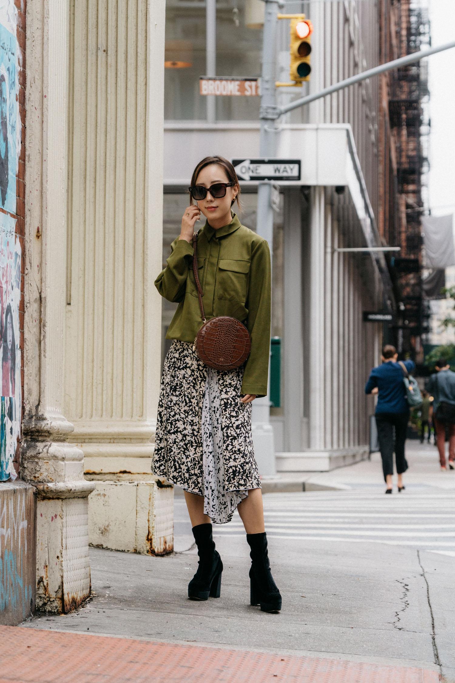 Norse Projects Top, Proenza Schouler Skirt, Miu Miu Boots, CO Collection Bag, Céline Sunglasses