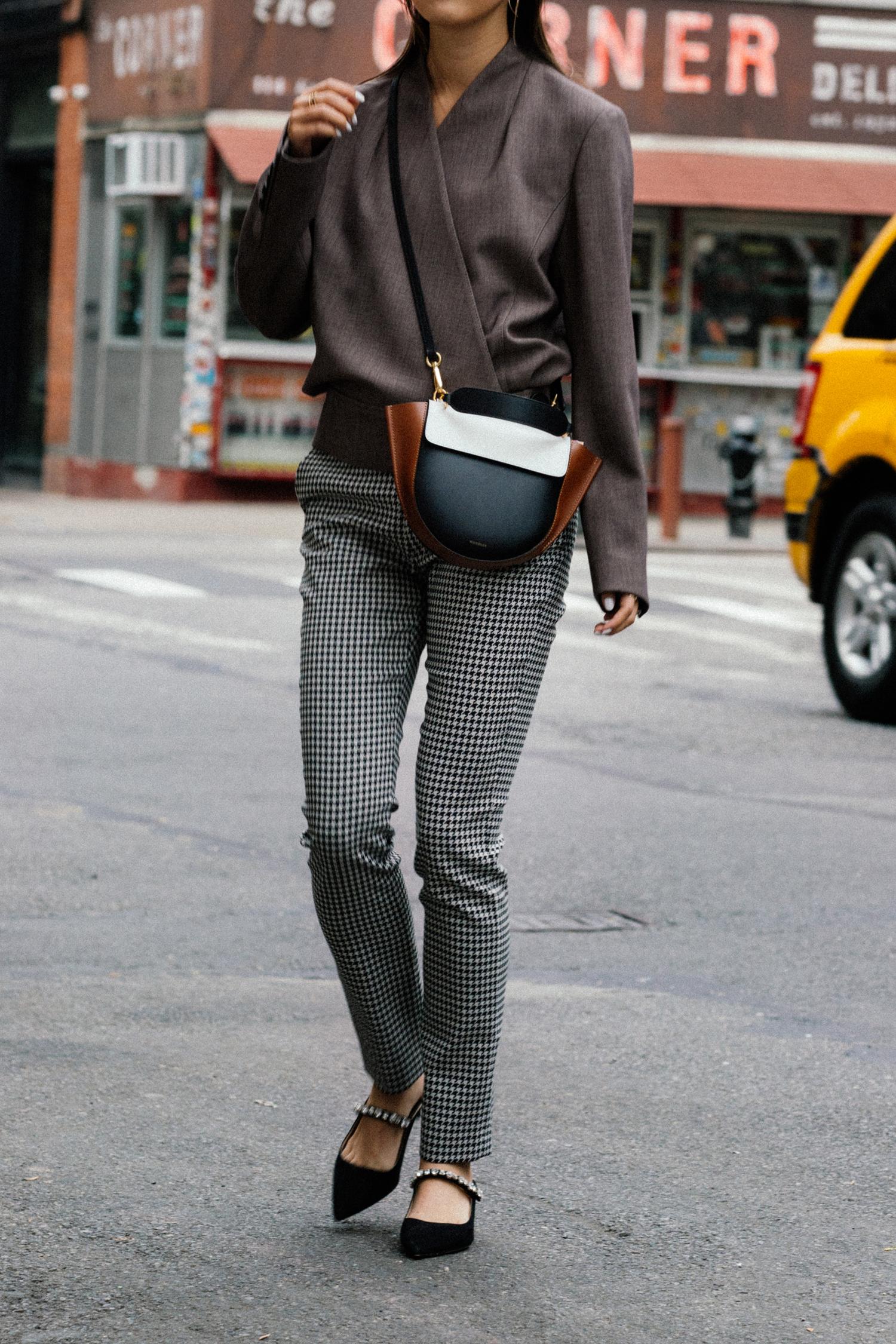 LEHHO Jacket ,  Sézane Pants , Prada Sandals,  Wandler Bag