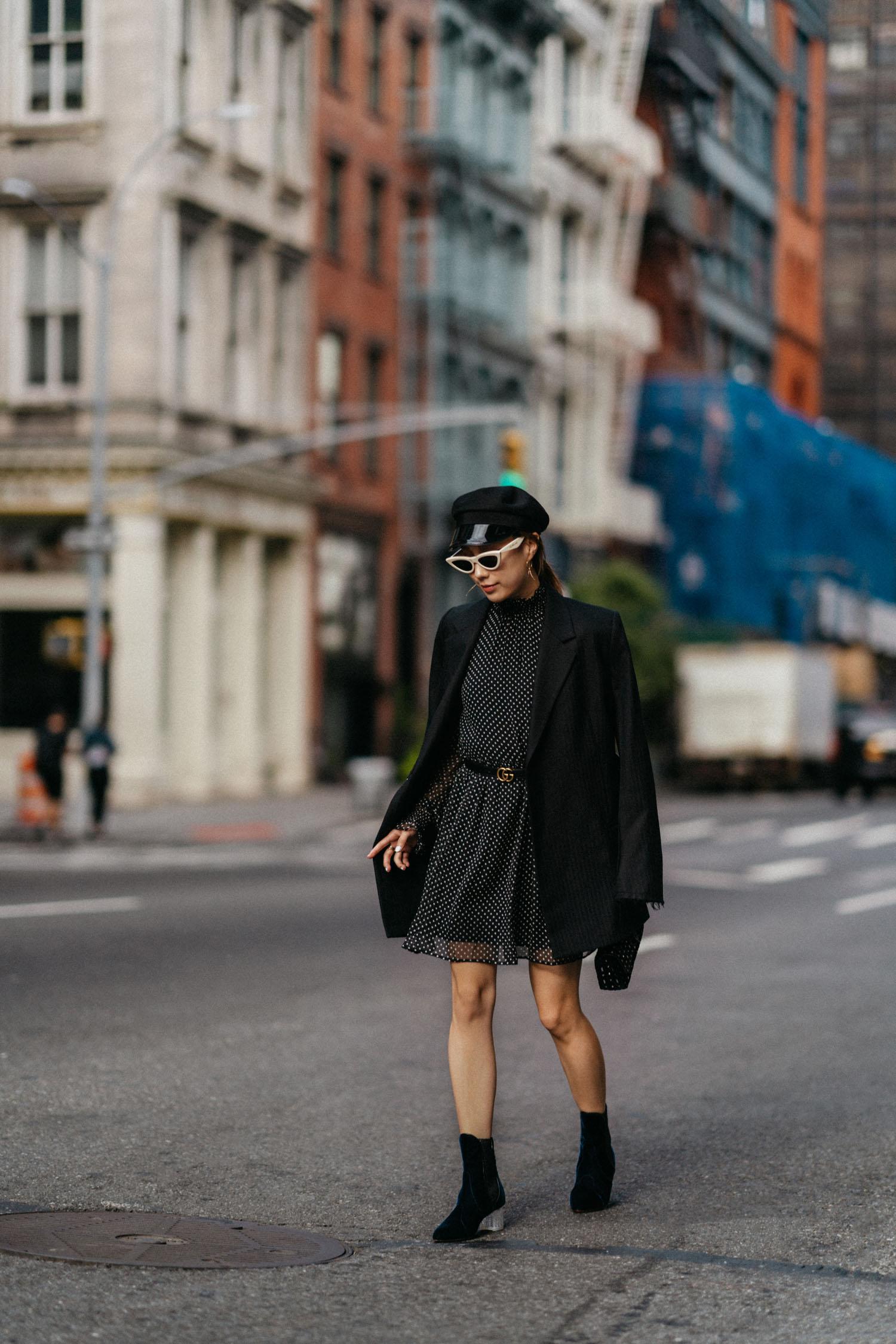 Helmut Lang Jacket,  Sézane Dress ,  Gucci Belt , Alaia Boots,  Céline Sunglasses