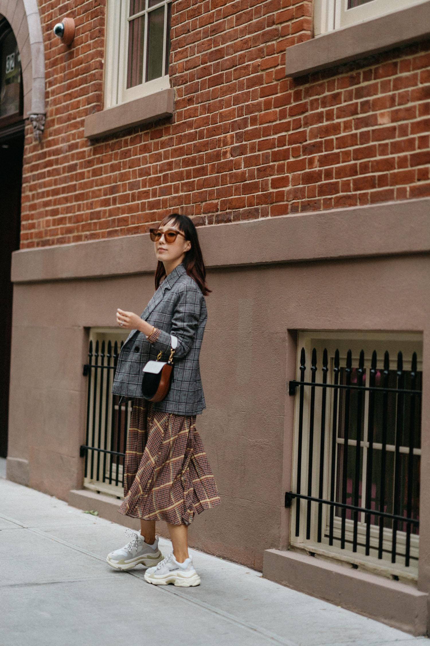 Petite Studio Blazer ,  & Other Stories Dress ,  Balenciaga Sneakers ,  Wandler Bag , Gentle Monster Sunglasses
